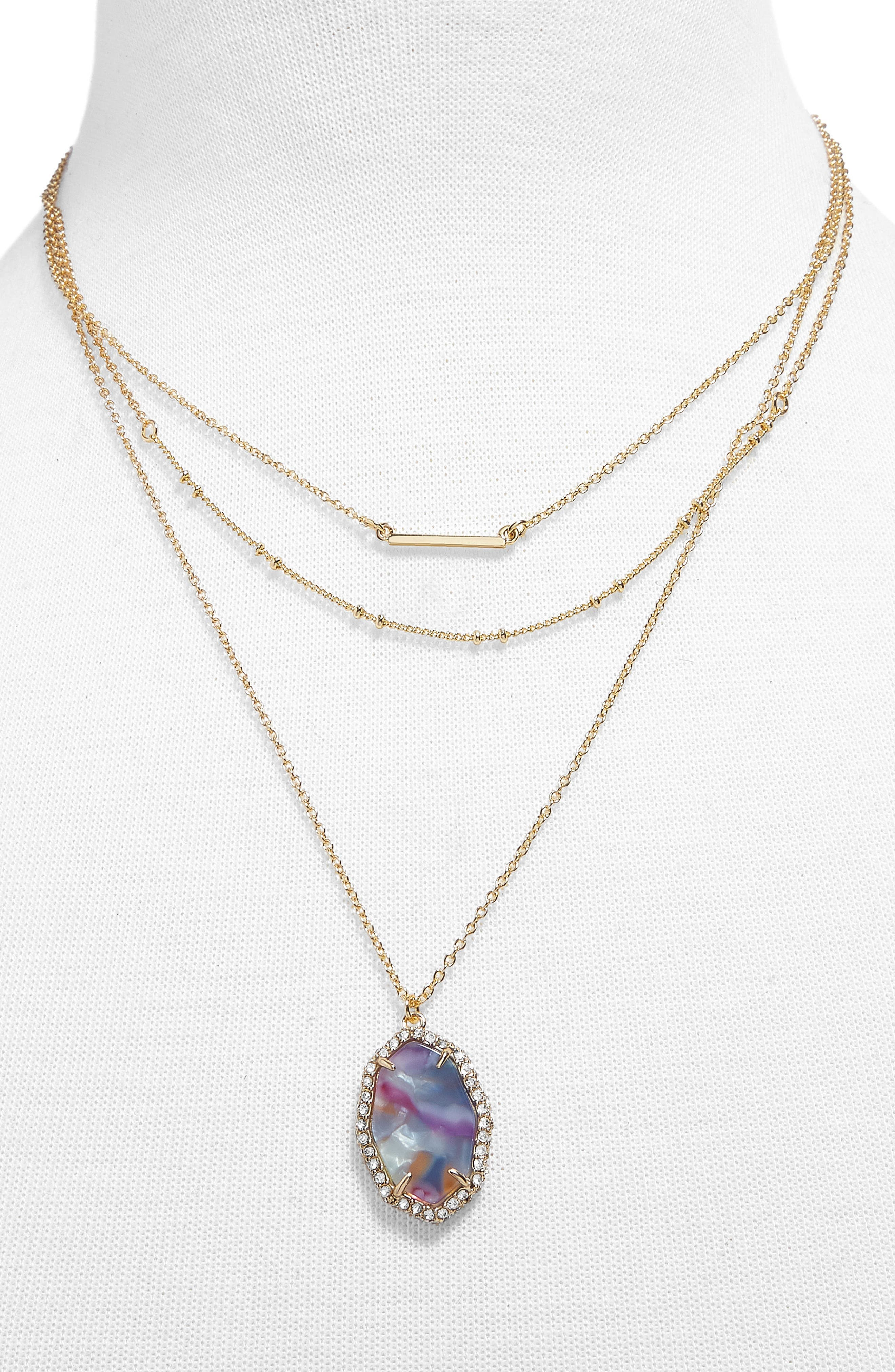 Ellory Layered Pendant Necklace,                         Main,                         color, Purple