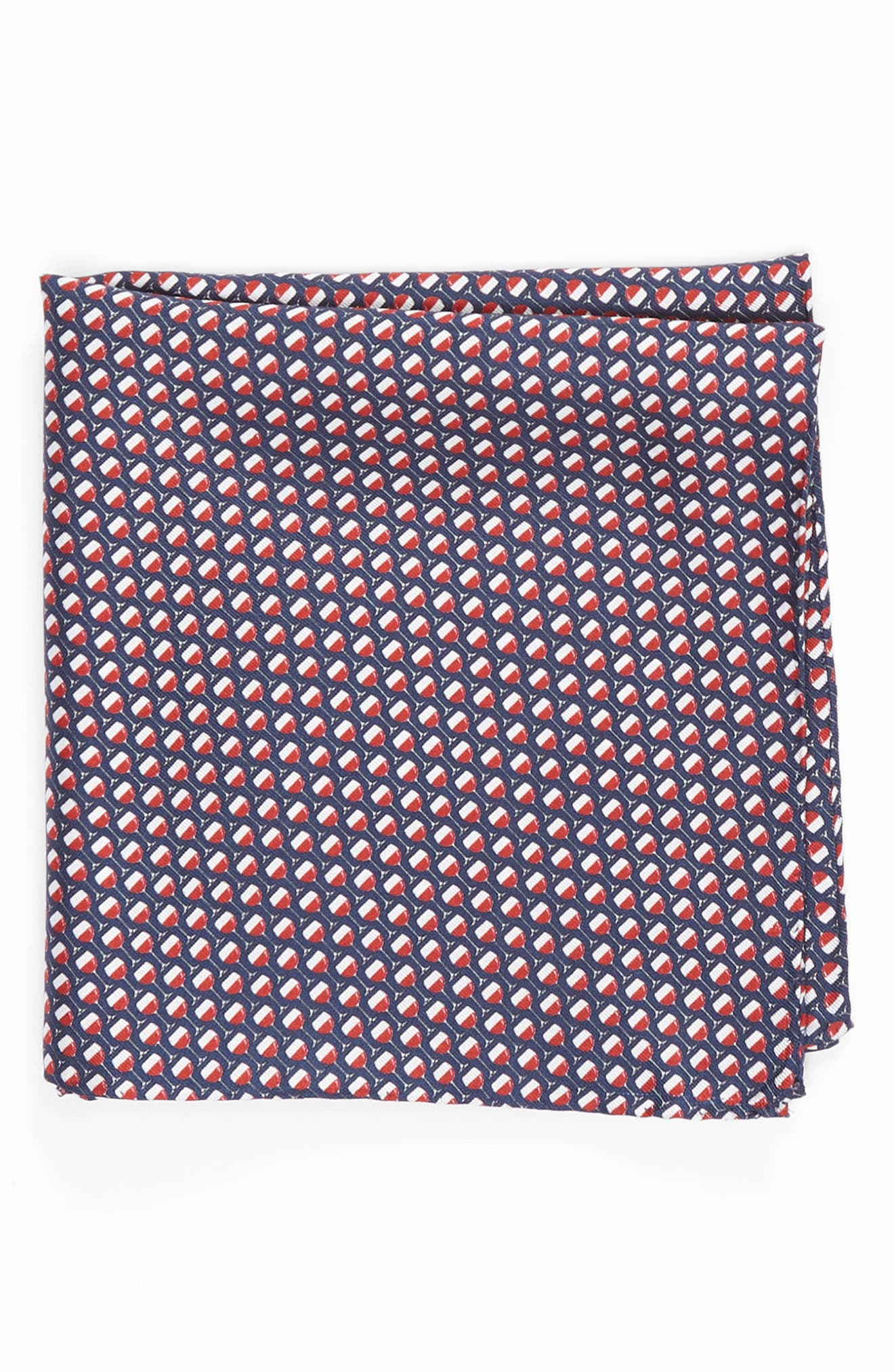 On Cloud Wine Silk Pocket Square,                         Main,                         color, Navy/ Red