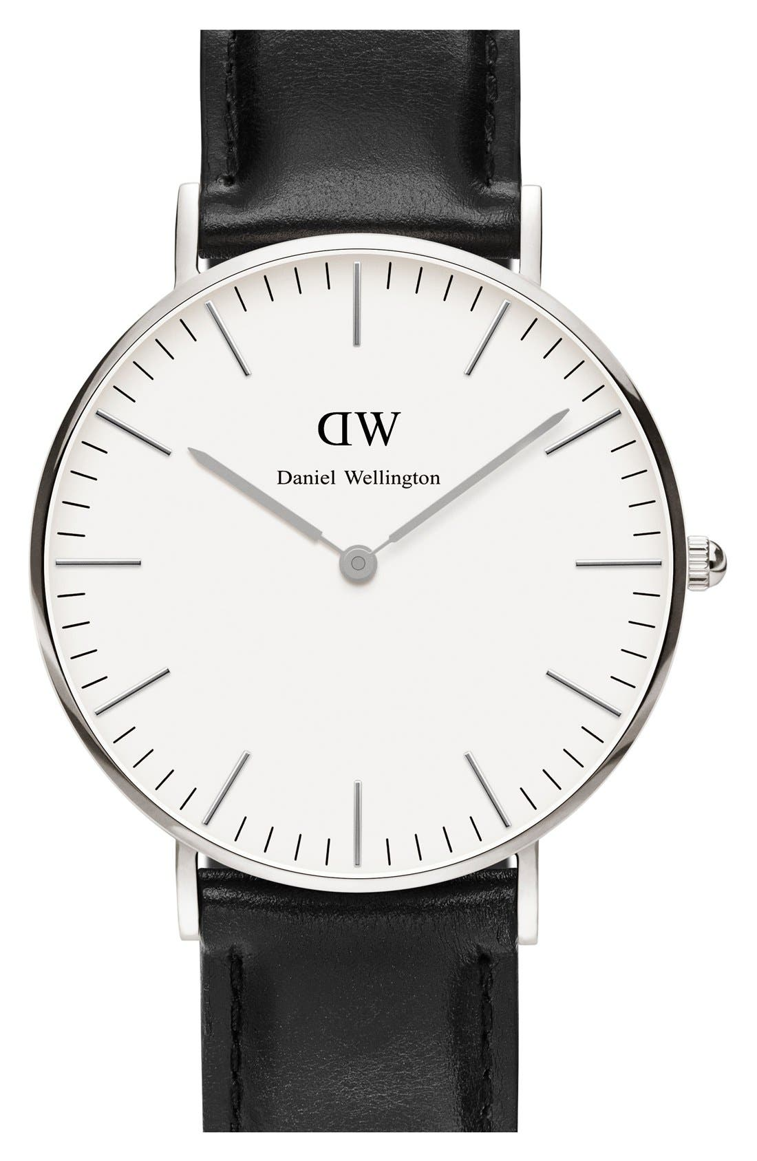 'Classic Sheffield' Leather Strap Watch, 36mm,                         Main,                         color, Black/ Silver