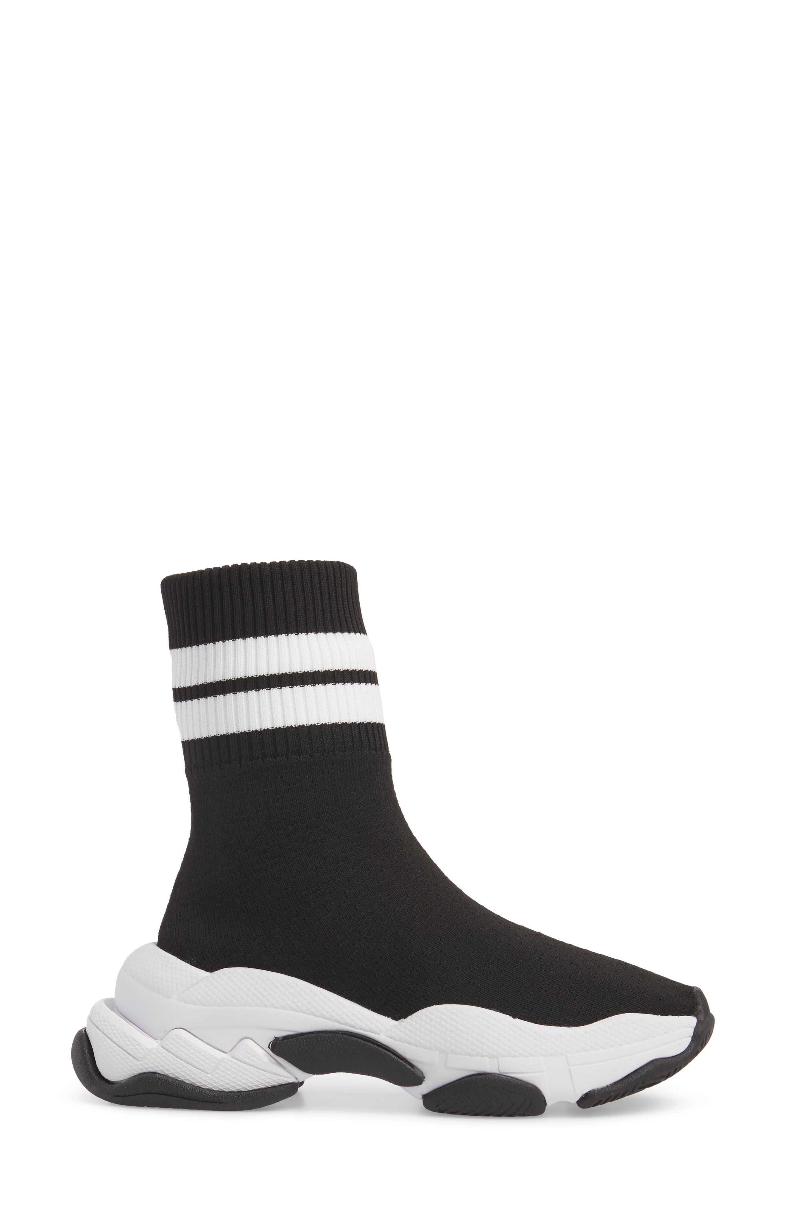 Tenko Ankle High Top Sock Sneaker,                             Alternate thumbnail 3, color,                             Black/ White Stripe Fabric