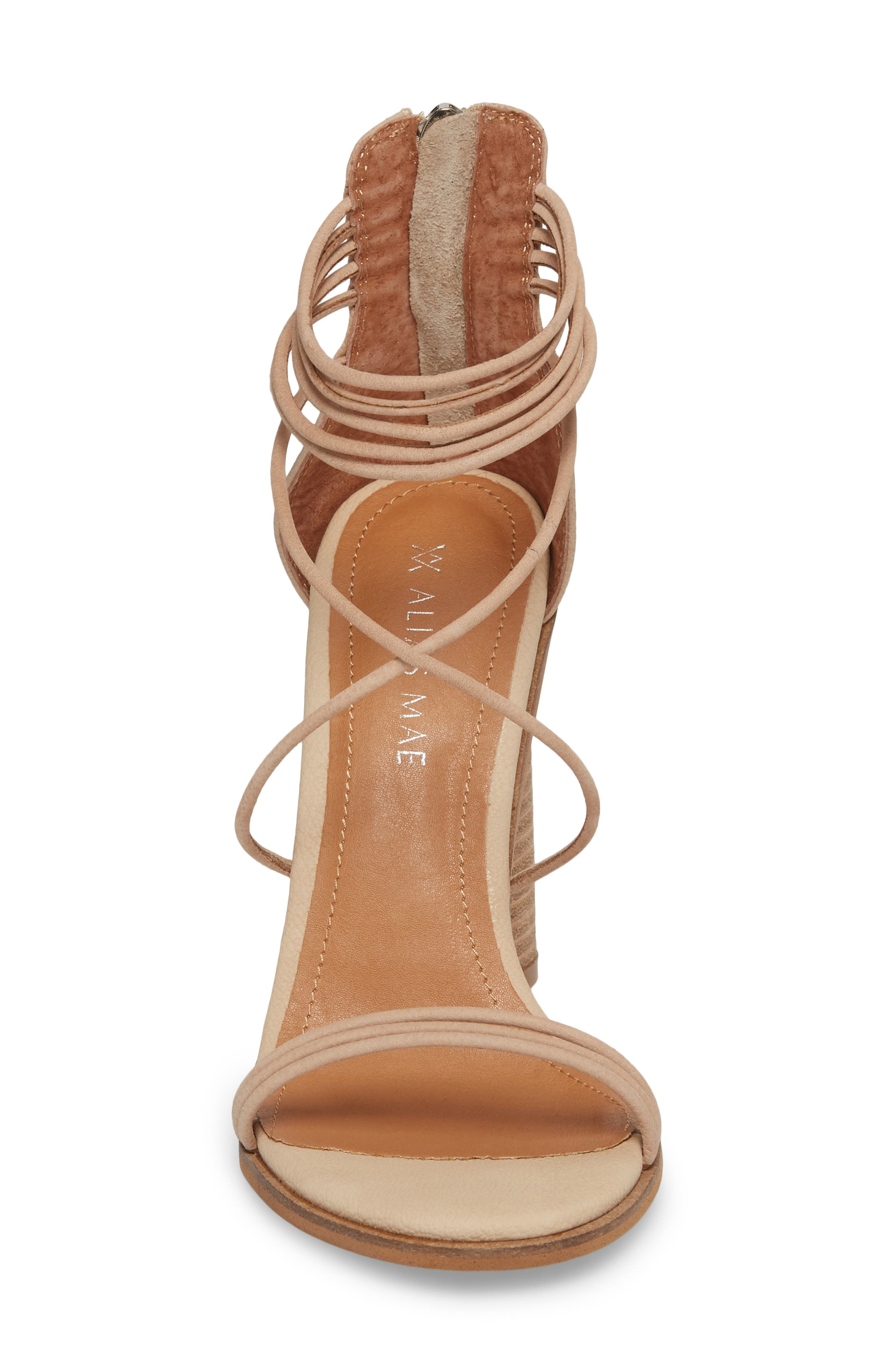 Aflux Tall Strappy Sandal,                             Alternate thumbnail 4, color,                             Natural Leather