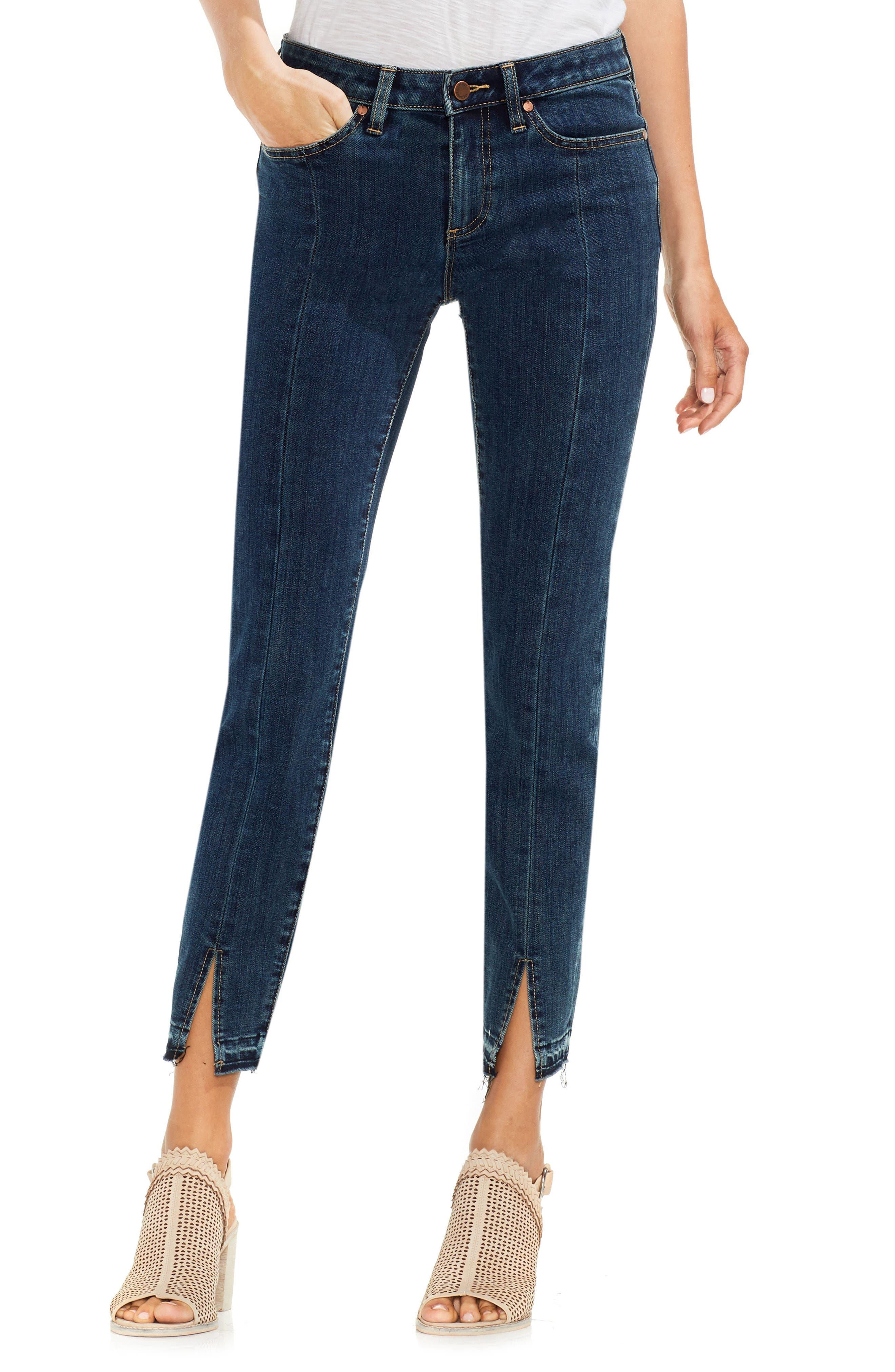 Vince Camuto Front Slit Skinny Jeans (Mid Vintage)
