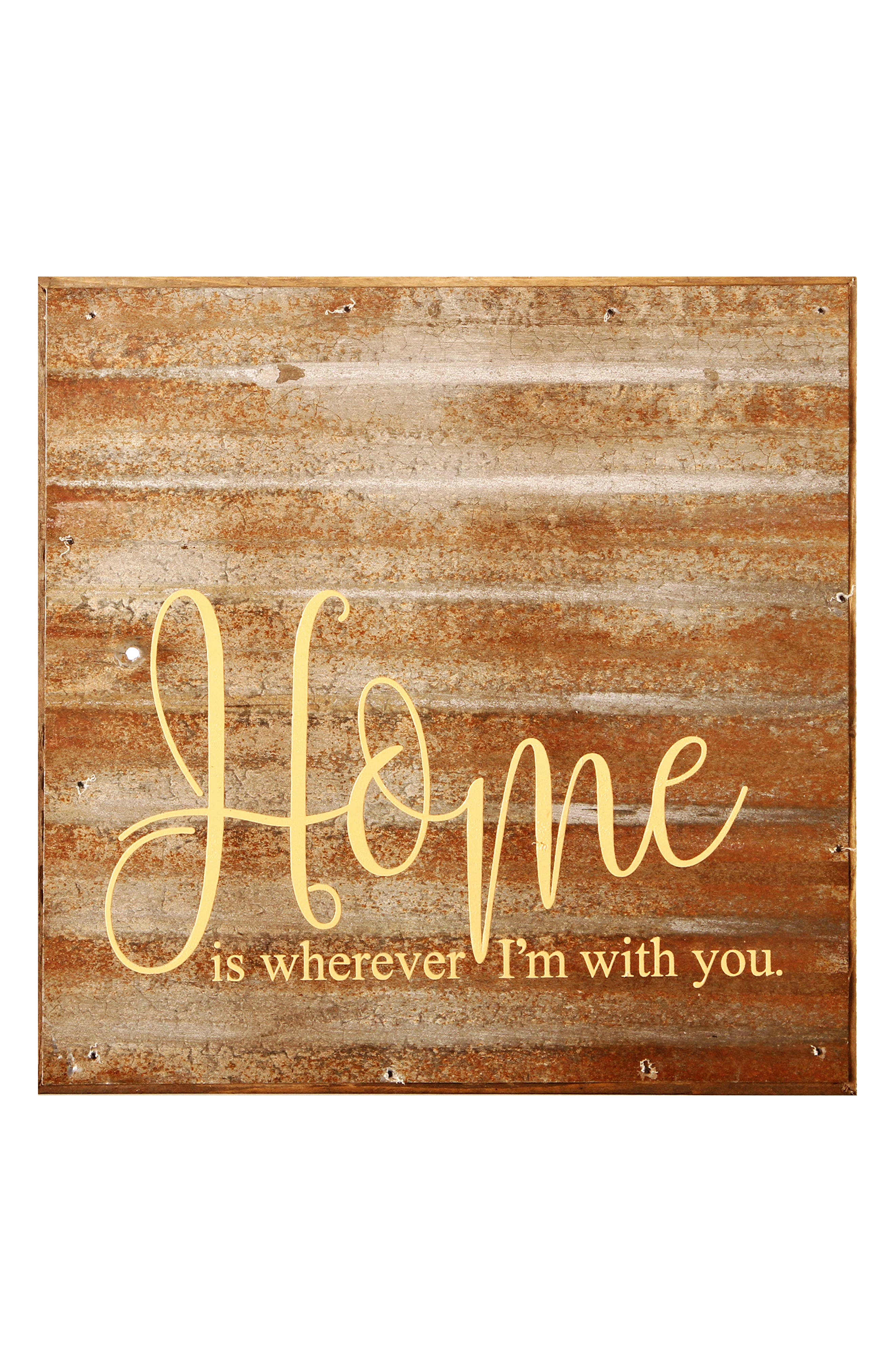 Home Is Wherever I'm With You Wood Wall Art,                             Main thumbnail 1, color,                             Copper