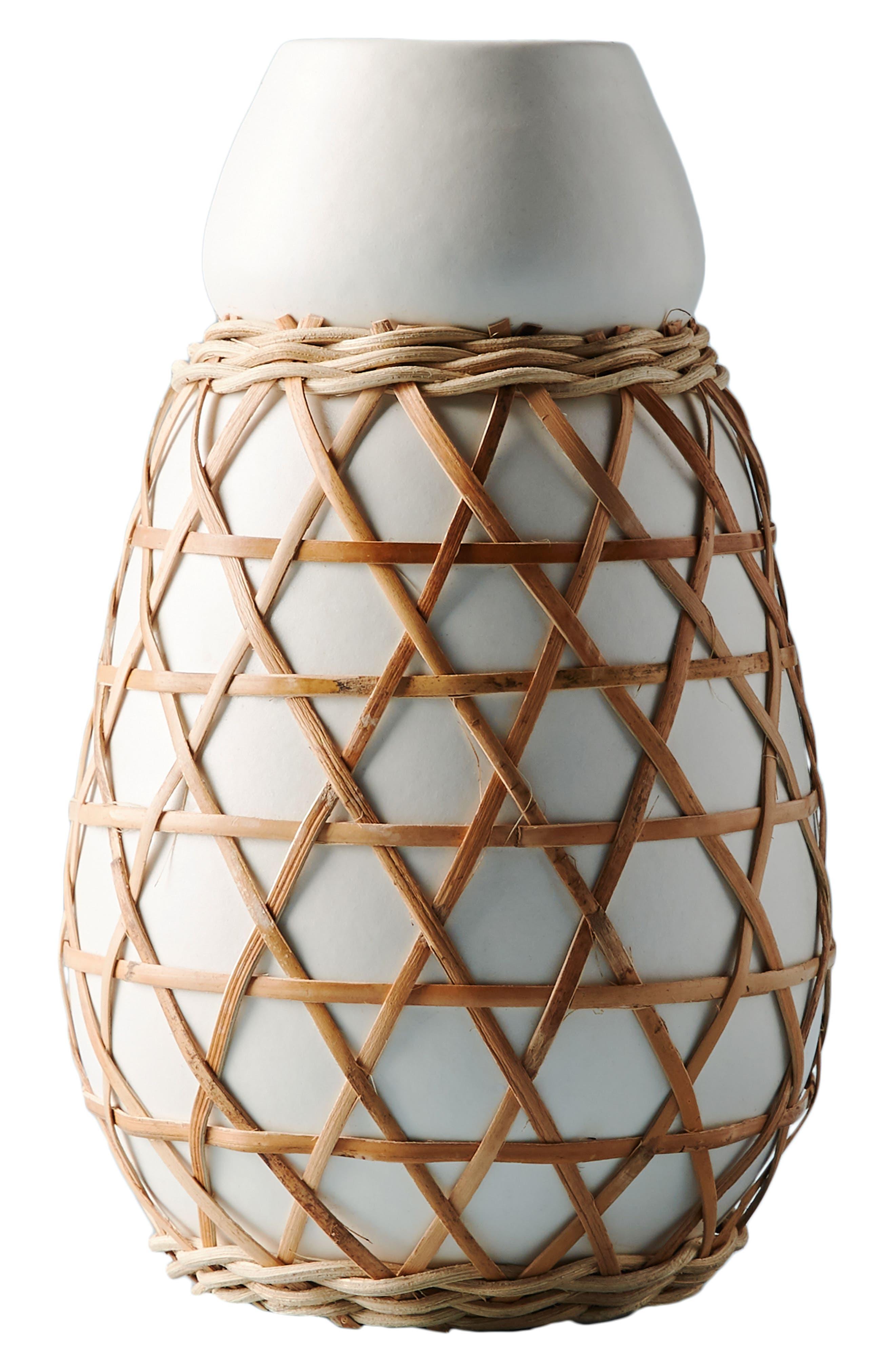 Woven Grass Vase,                             Alternate thumbnail 4, color,                             White