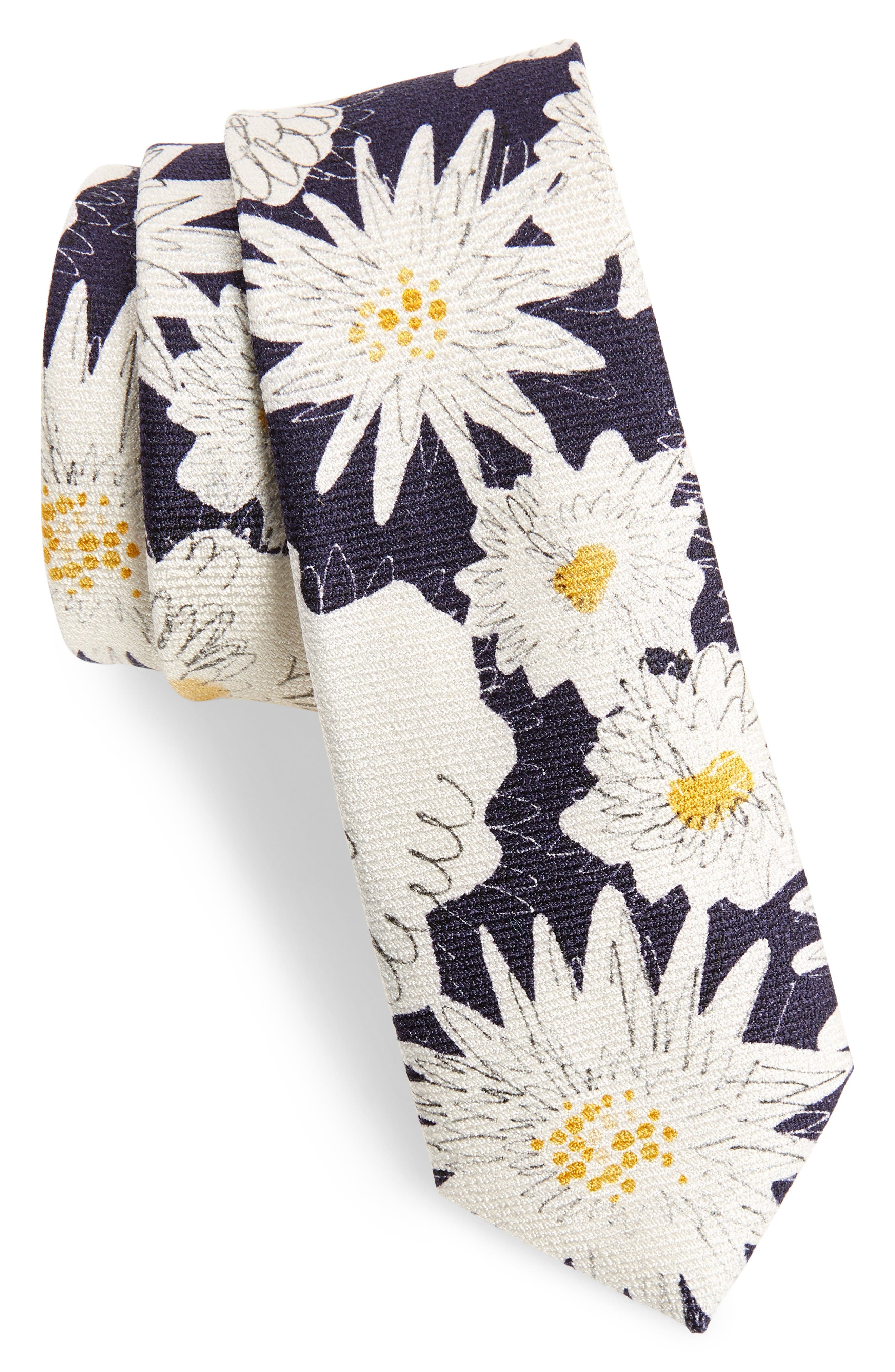 Floral Silk Skinny Tie,                             Main thumbnail 1, color,                             Navy