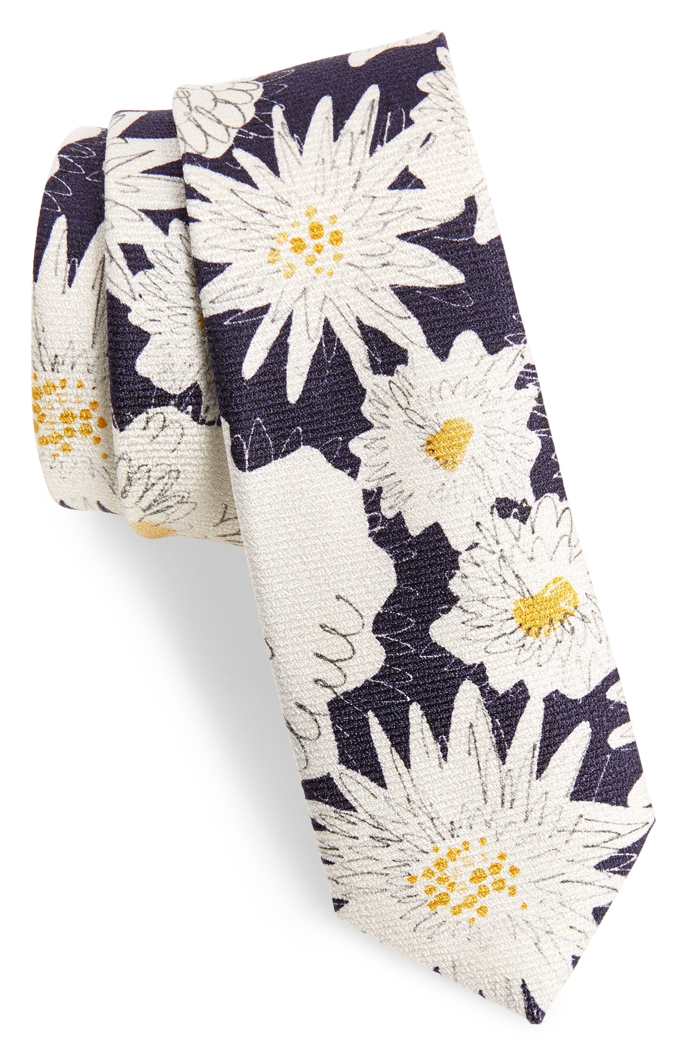 Floral Silk Skinny Tie,                         Main,                         color, Navy