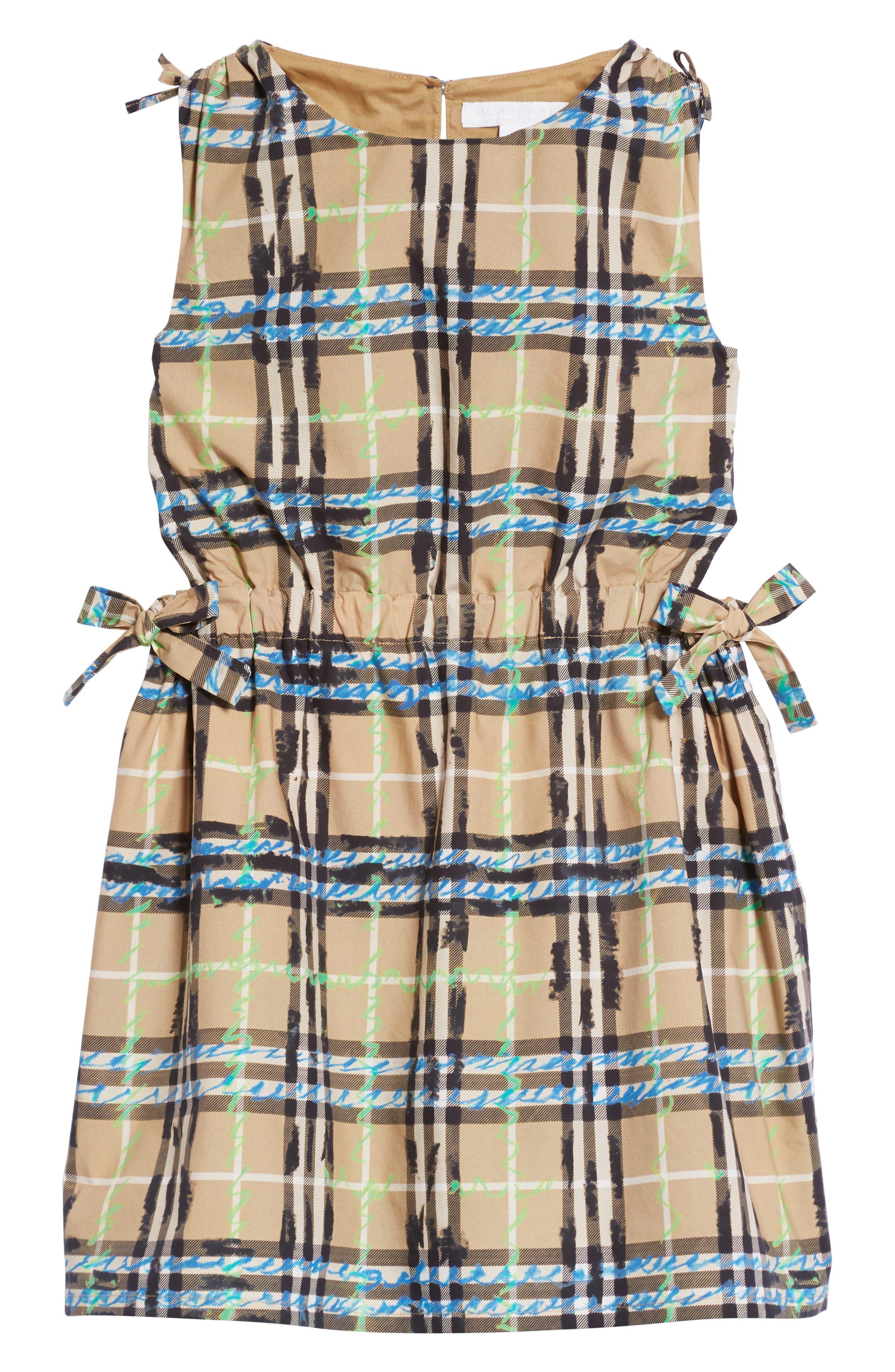 Candra Scribble Check Dress,                             Main thumbnail 1, color,                             Bright Blue