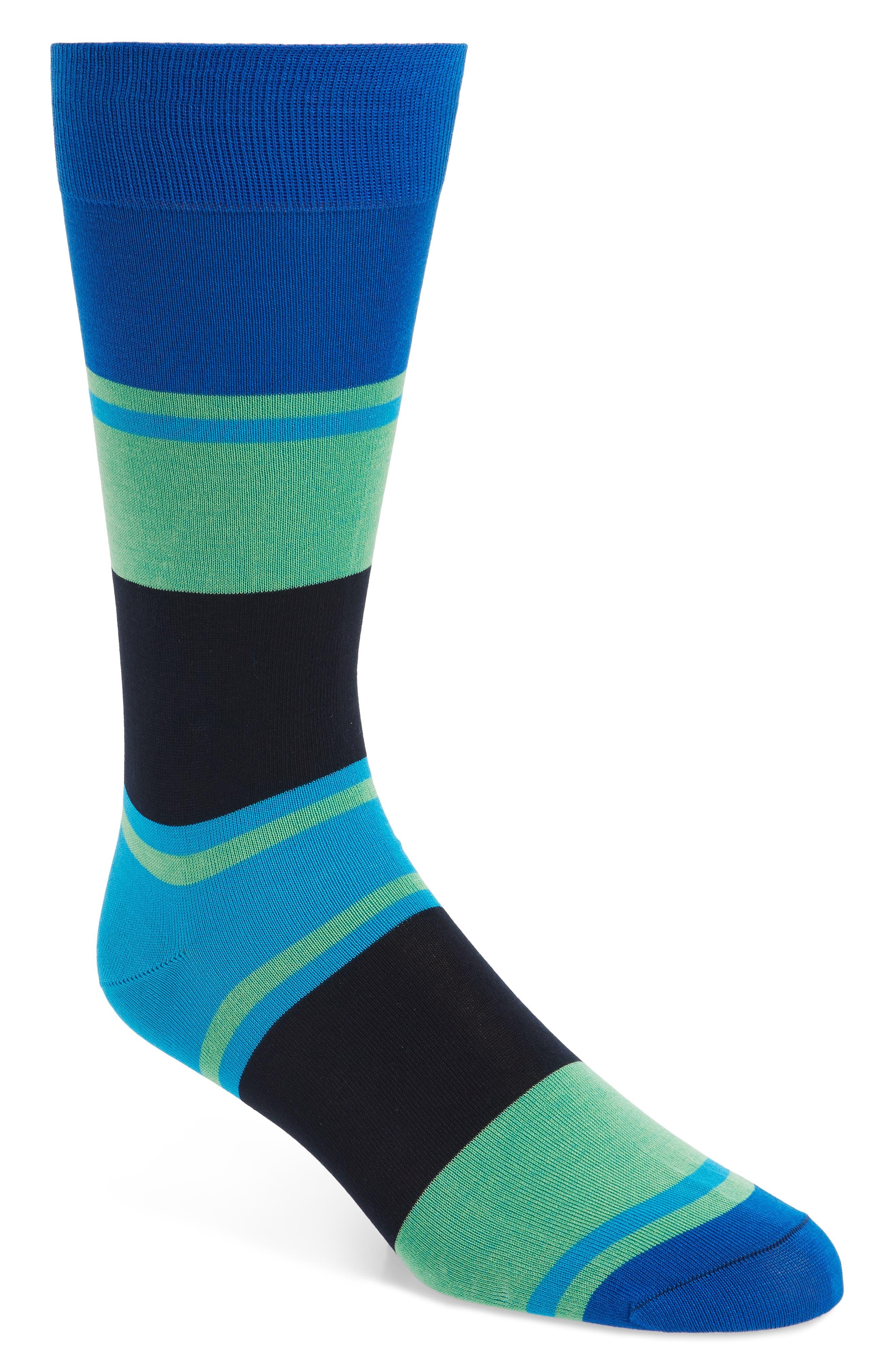 Block Stripe Socks,                             Main thumbnail 1, color,                             Sapphire