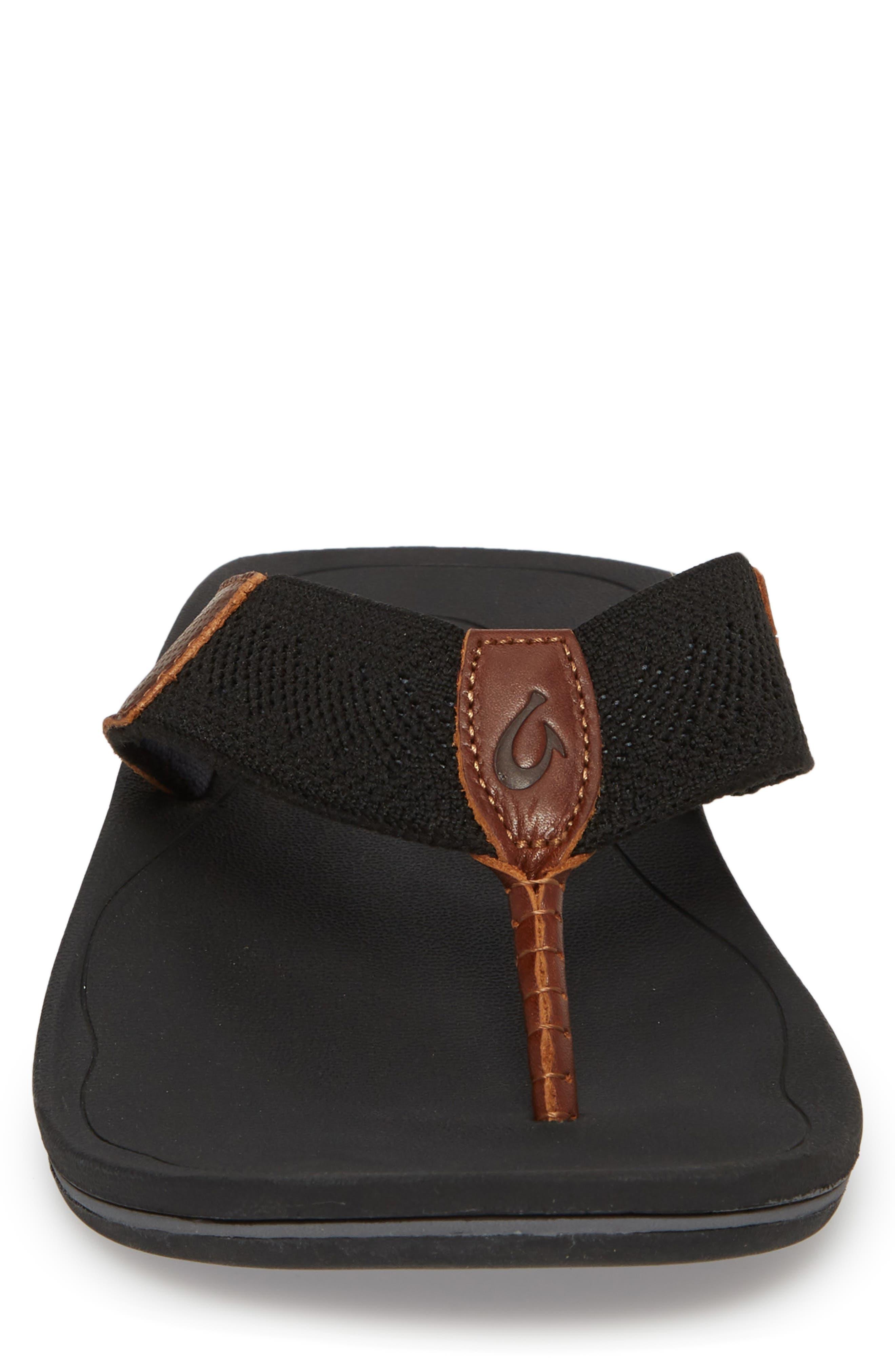 Nohona Ulana Flip Flop,                             Alternate thumbnail 4, color,                             Black/ Black Leather