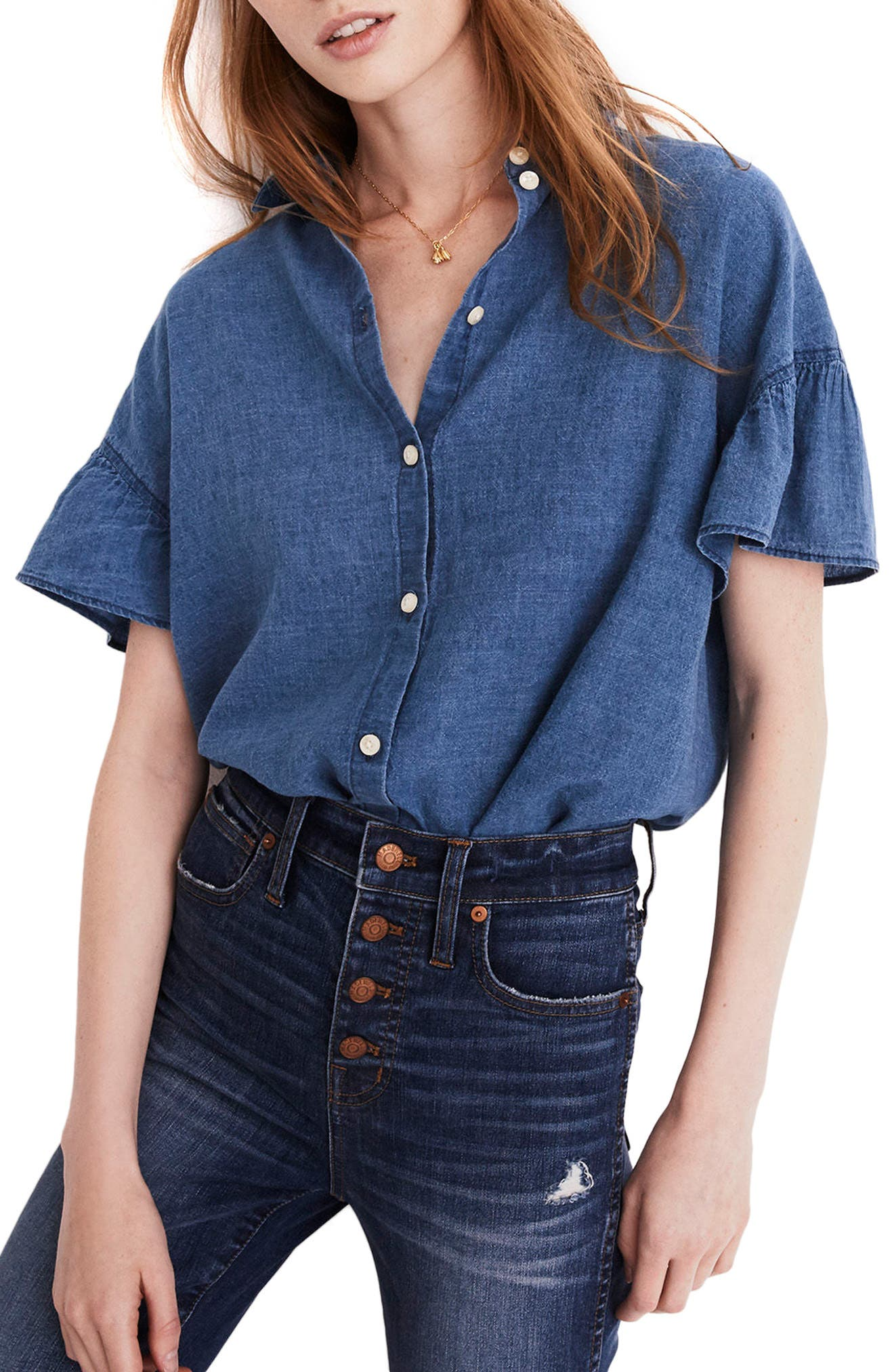 Central Ruffle Sleeve Shirt,                         Main,                         color, Blackbird Wash