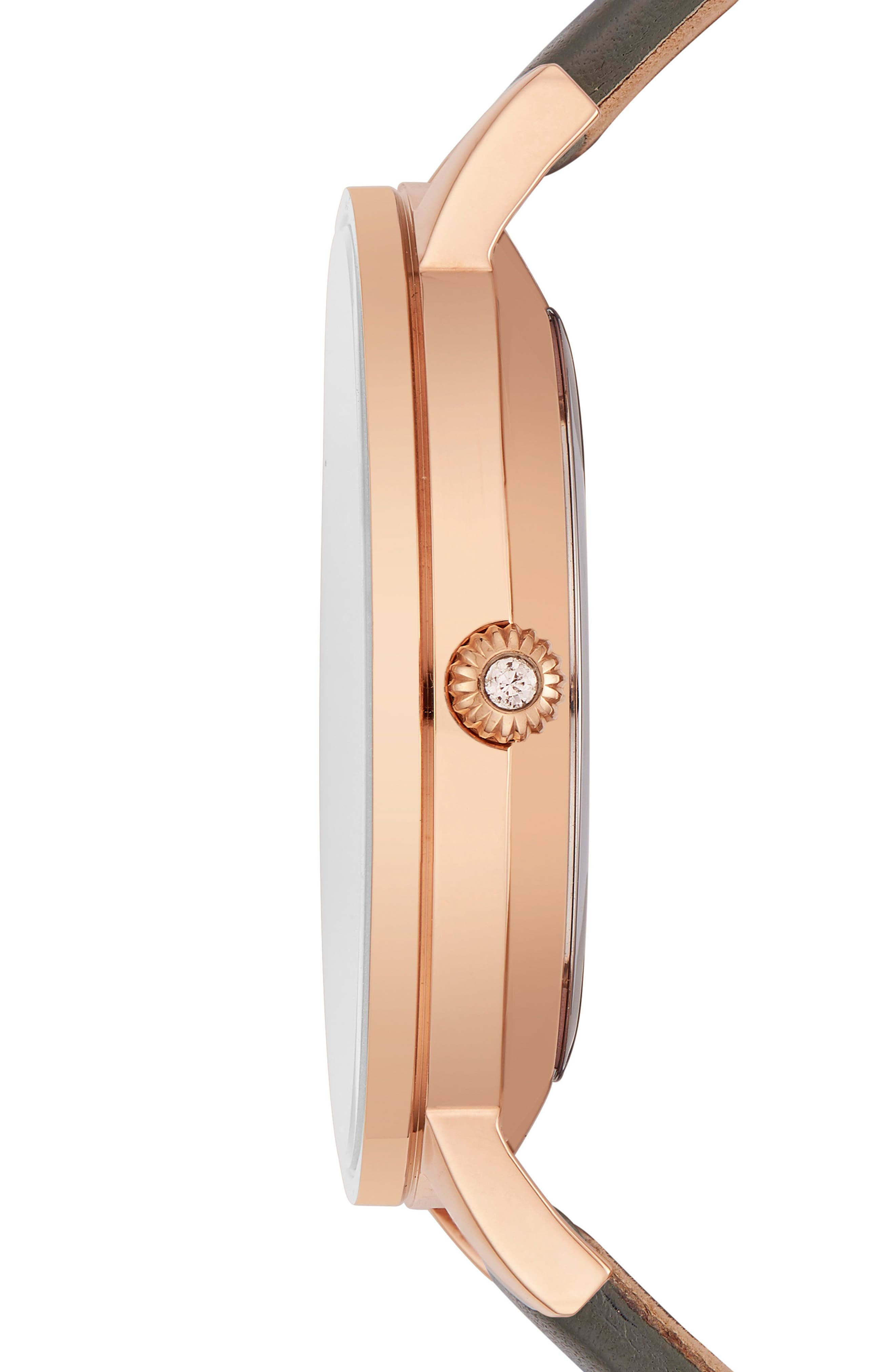 Olivia Leather Strap Watch,                             Alternate thumbnail 3, color,                             Grey/ White/ Rose Gold