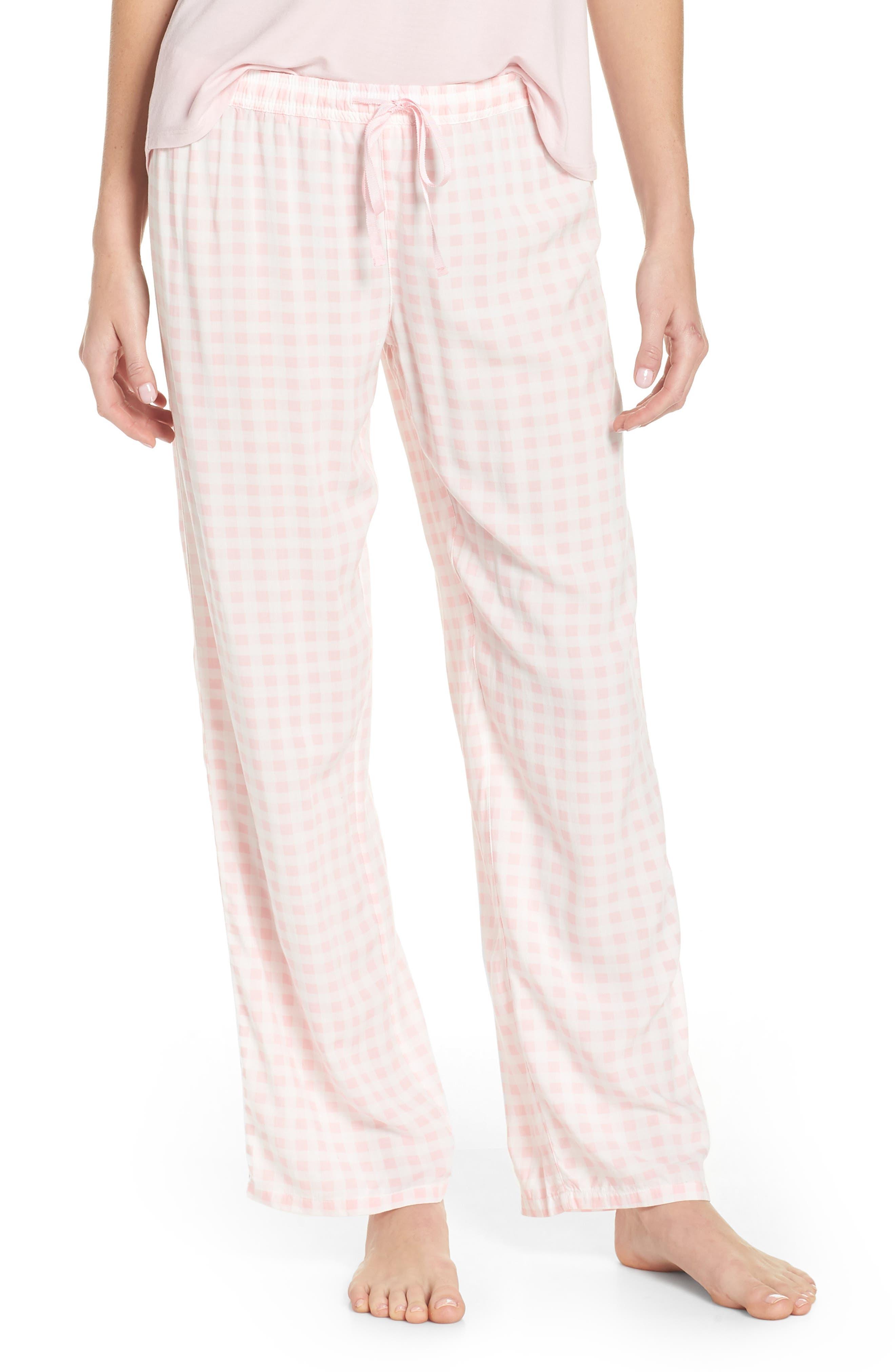 Gingham Pajama Pants,                         Main,                         color, Pink