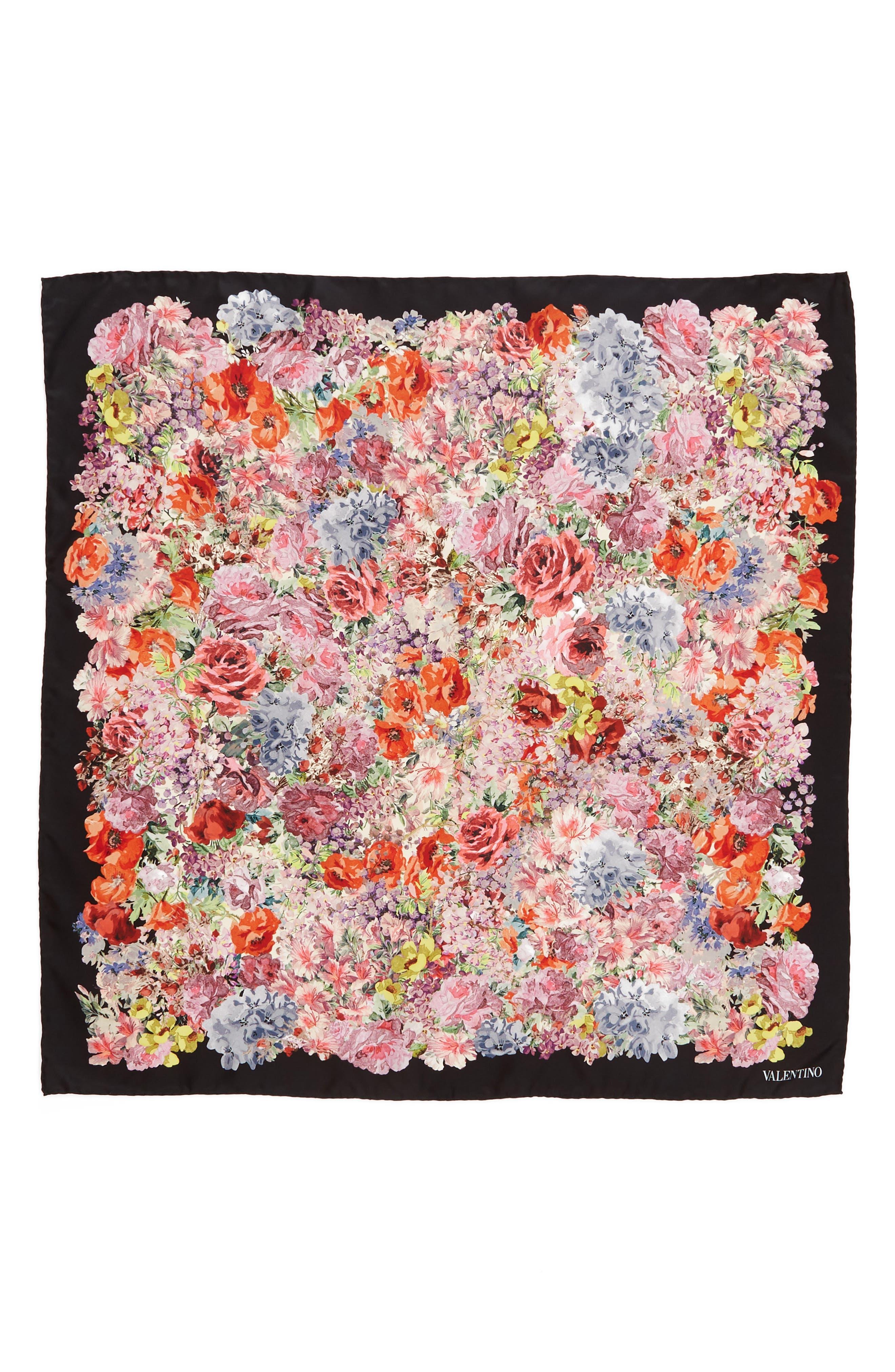 Jardin des Fleurs Square Silk Scarf,                             Main thumbnail 1, color,                             Fiori Multicolor/ Nero