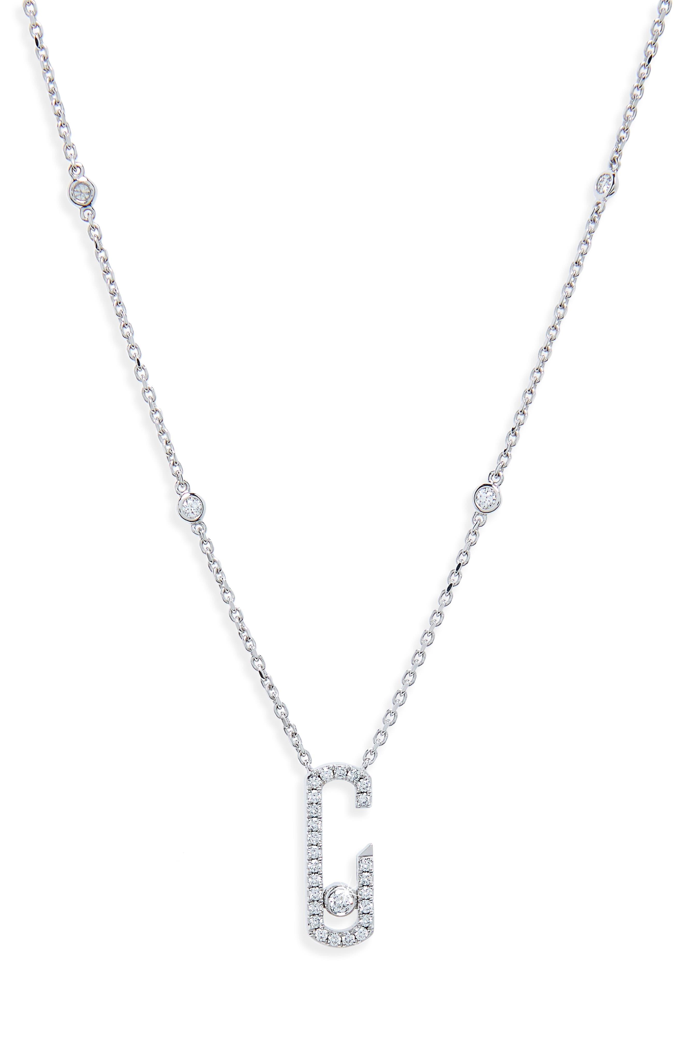 by Gigi Hadid Move Addiction 18K Gold & Diamond Pendant Necklace,                         Main,                         color, White Gold