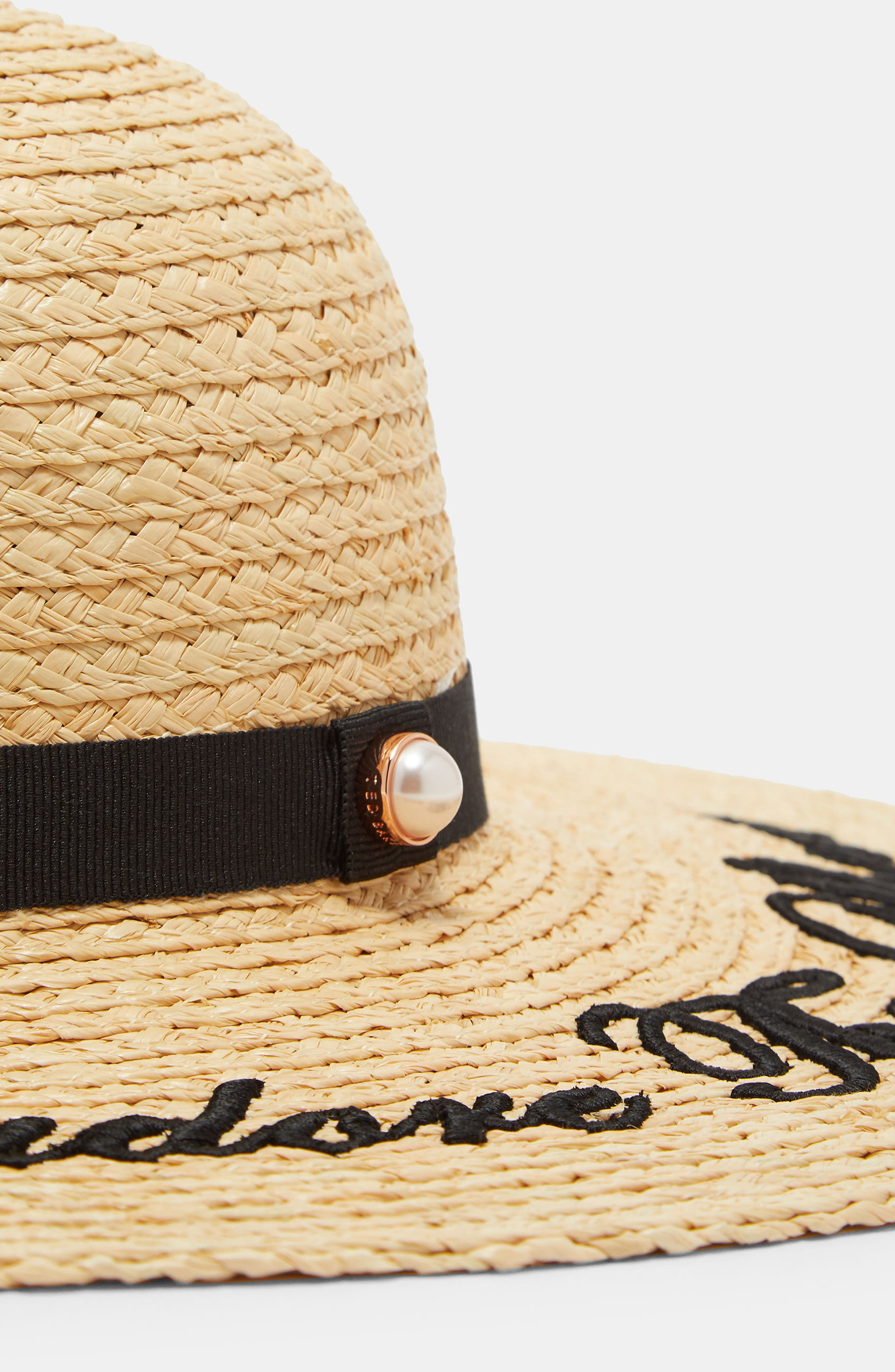 Script Embroidered Floppy Hat,                             Alternate thumbnail 3, color,                             Straw
