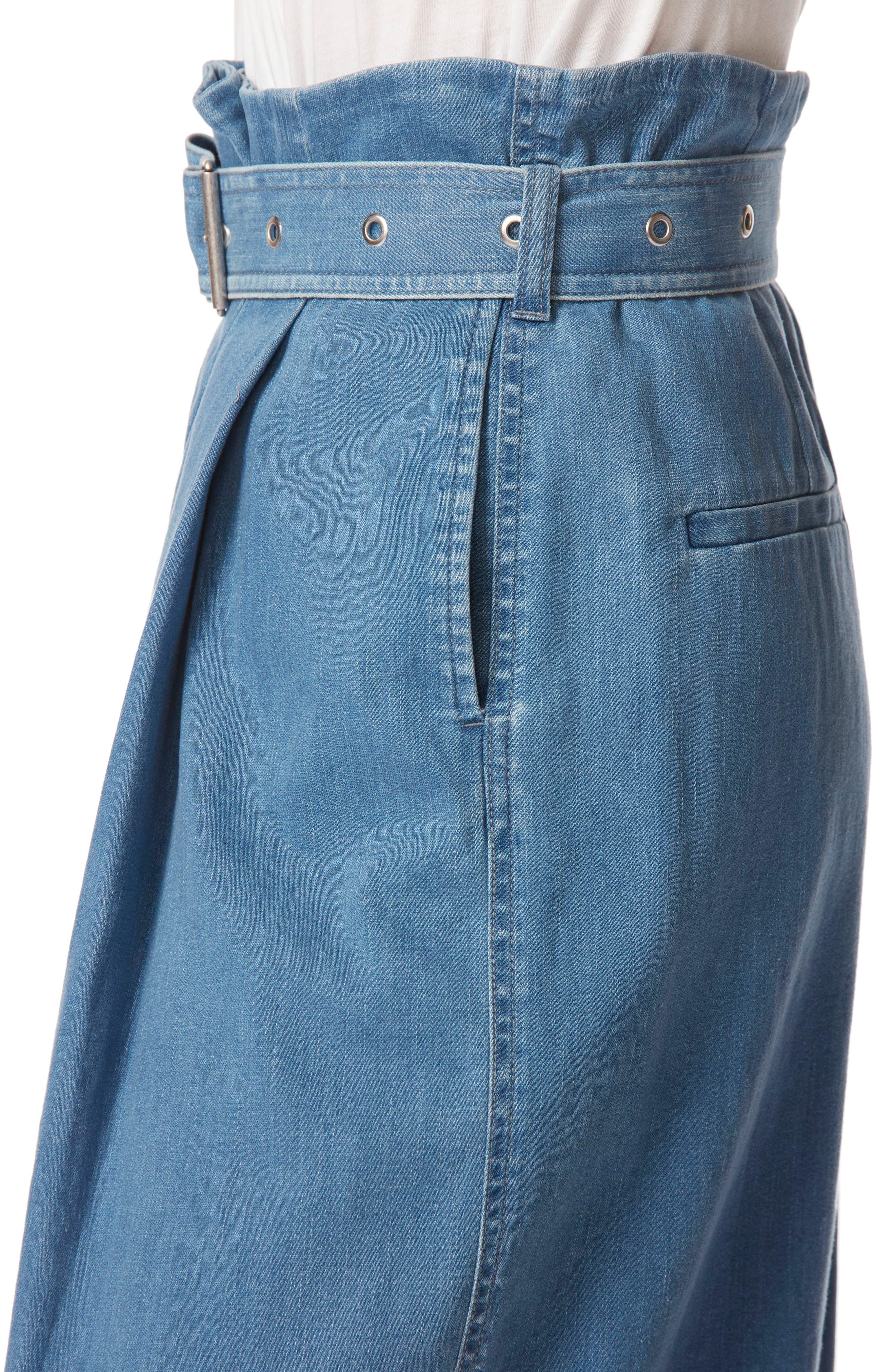 Tranquil Pleat Front Denim Skirt,                             Alternate thumbnail 5, color,                             Heavenly