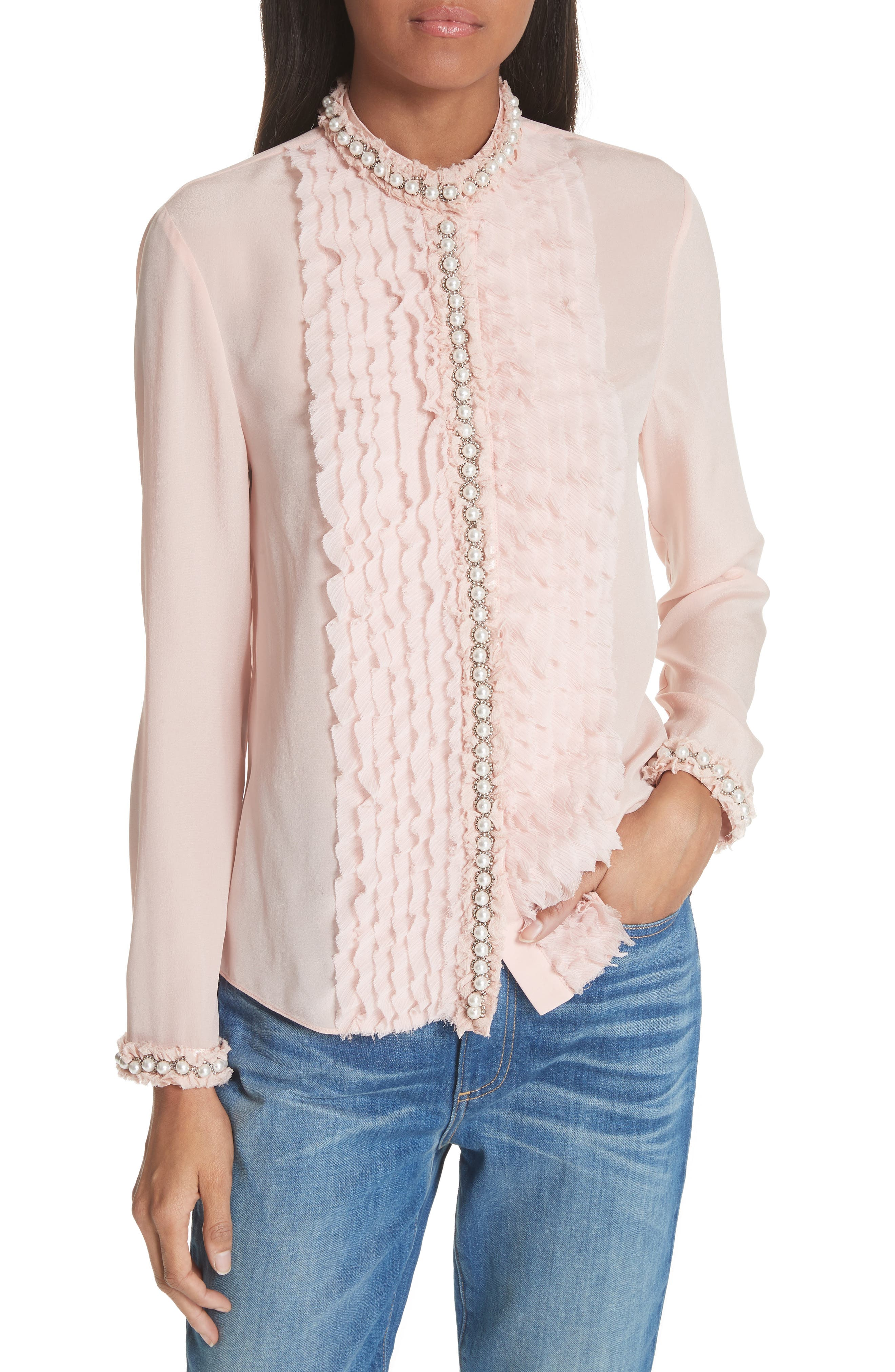 Bejeweled Button Down Silk Top,                             Main thumbnail 1, color,                             Blush