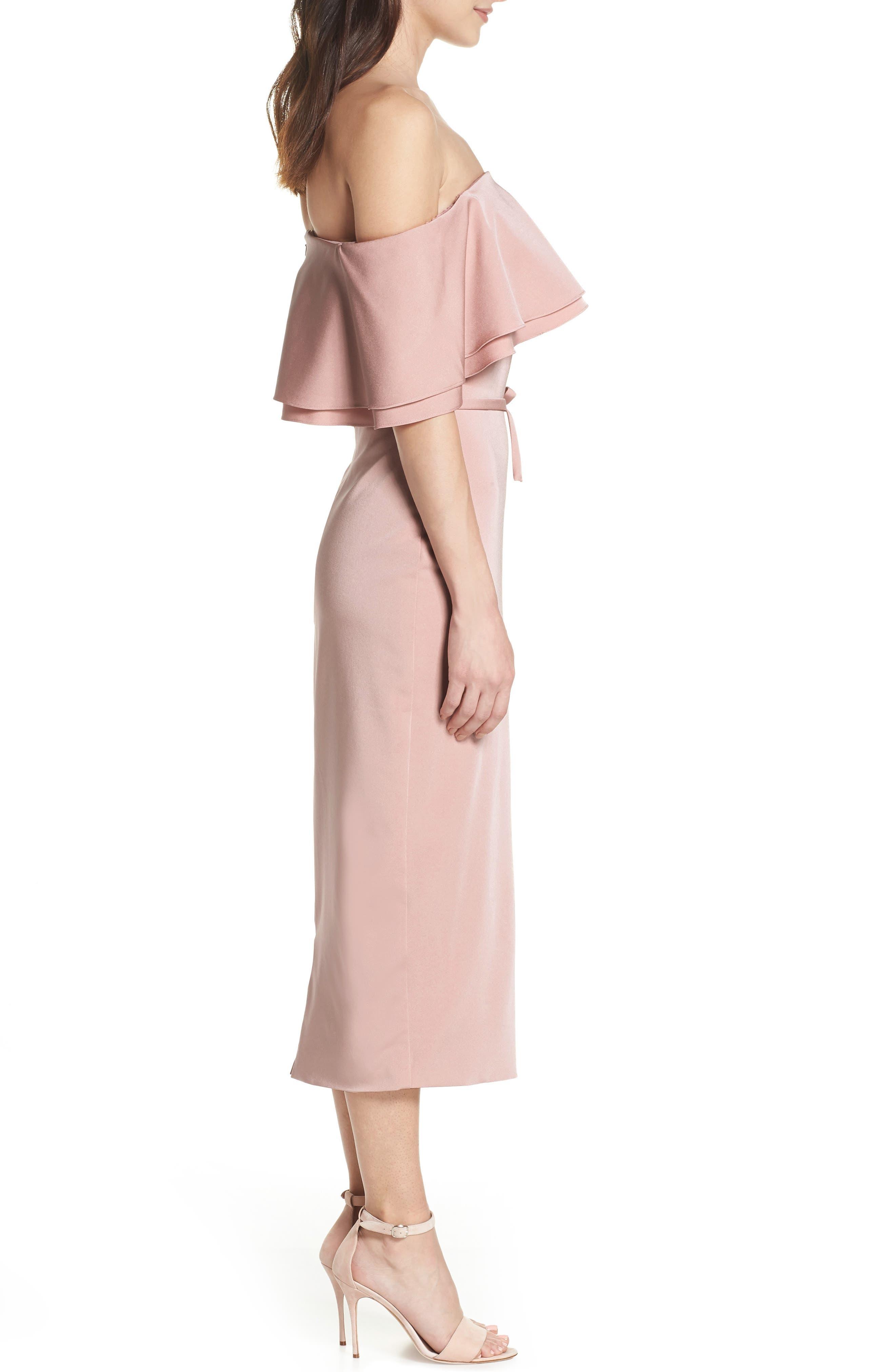 Ruffle Off the Shoulder Tea Length Dress,                             Alternate thumbnail 3, color,                             Rose