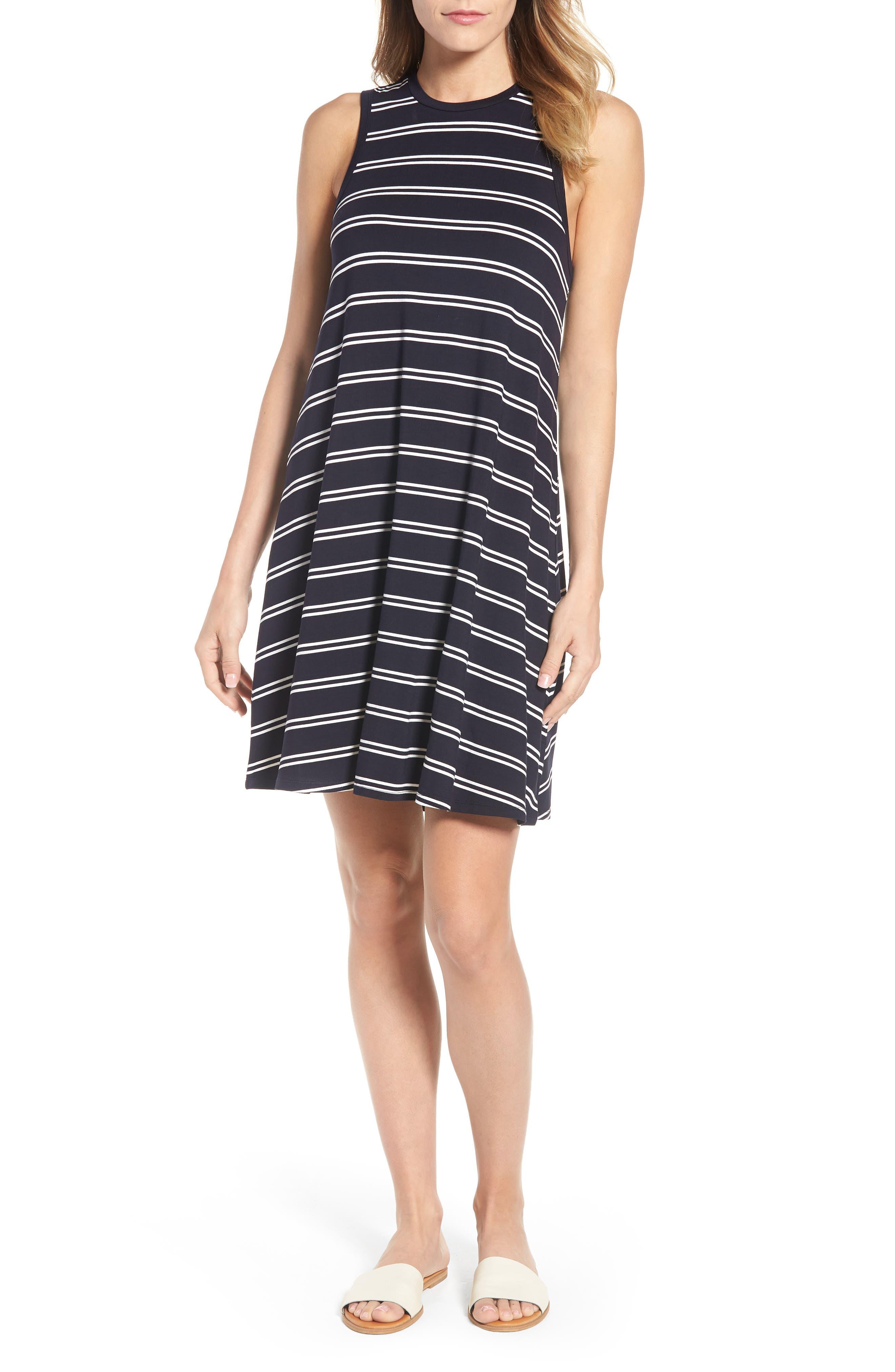 Stripe Tank Dress,                             Main thumbnail 1, color,                             Deepest Navy White