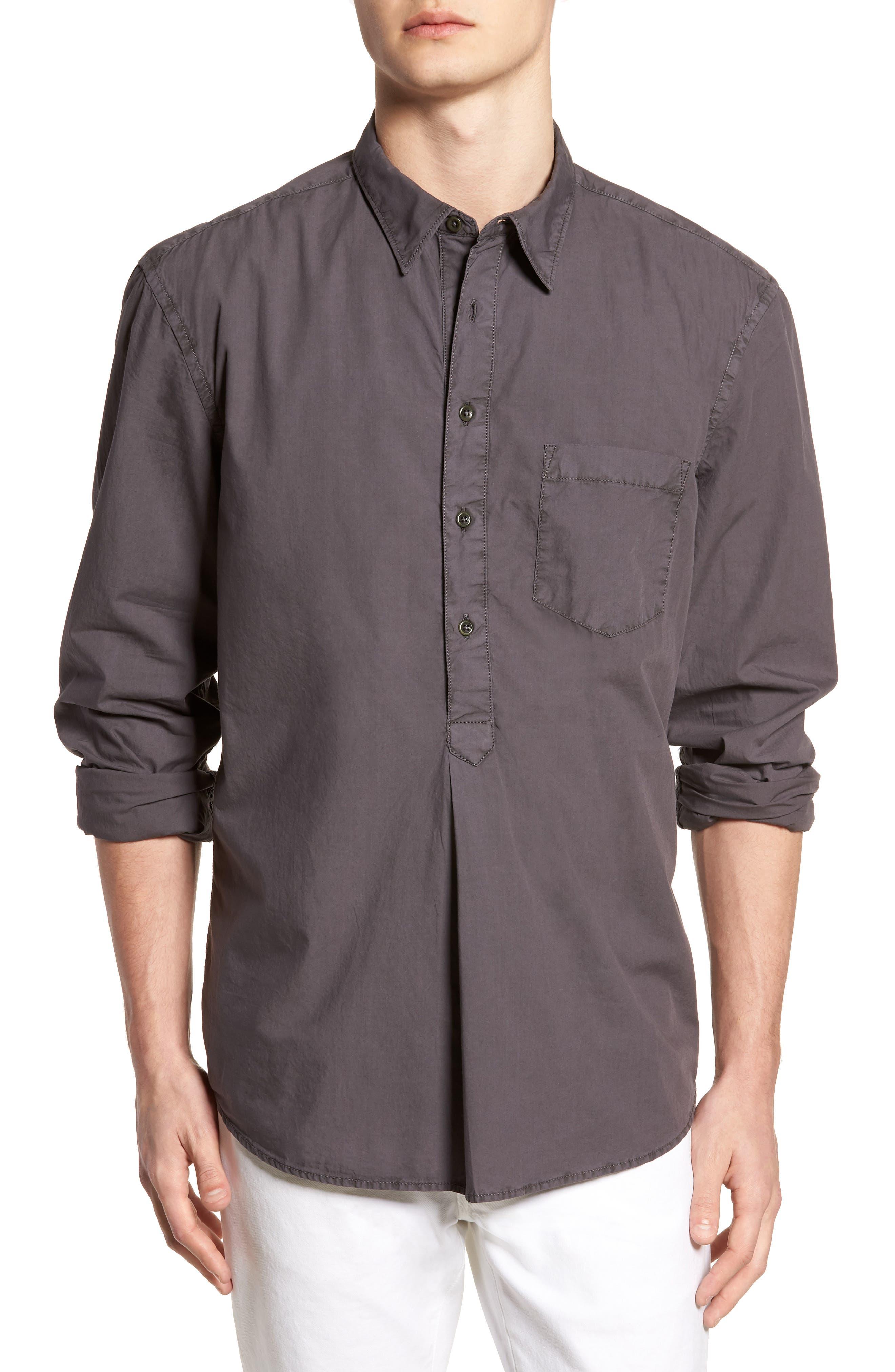 French Connection Regular Fit Garment Dyed Poplin Sport Shirt