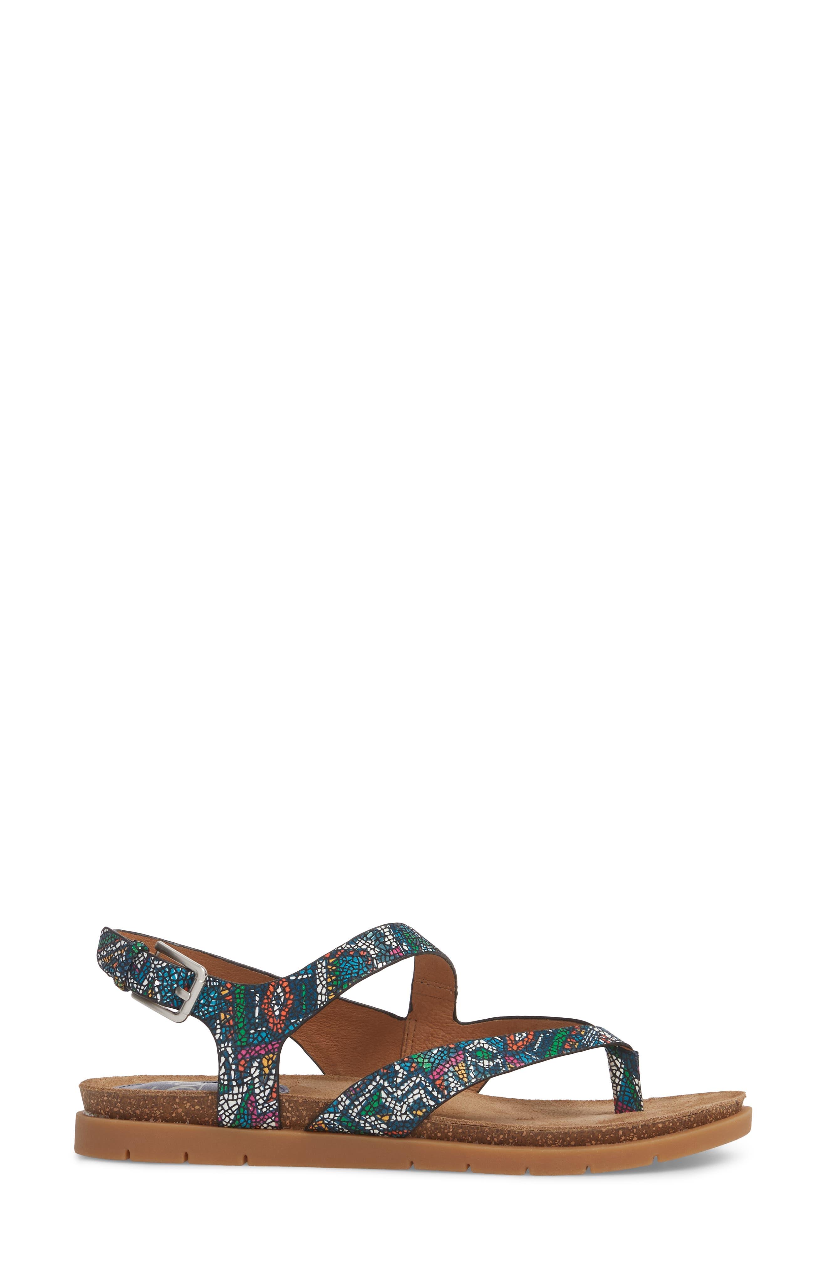 Rory Sandal,                             Alternate thumbnail 3, color,                             Blue Multi Printed Leather