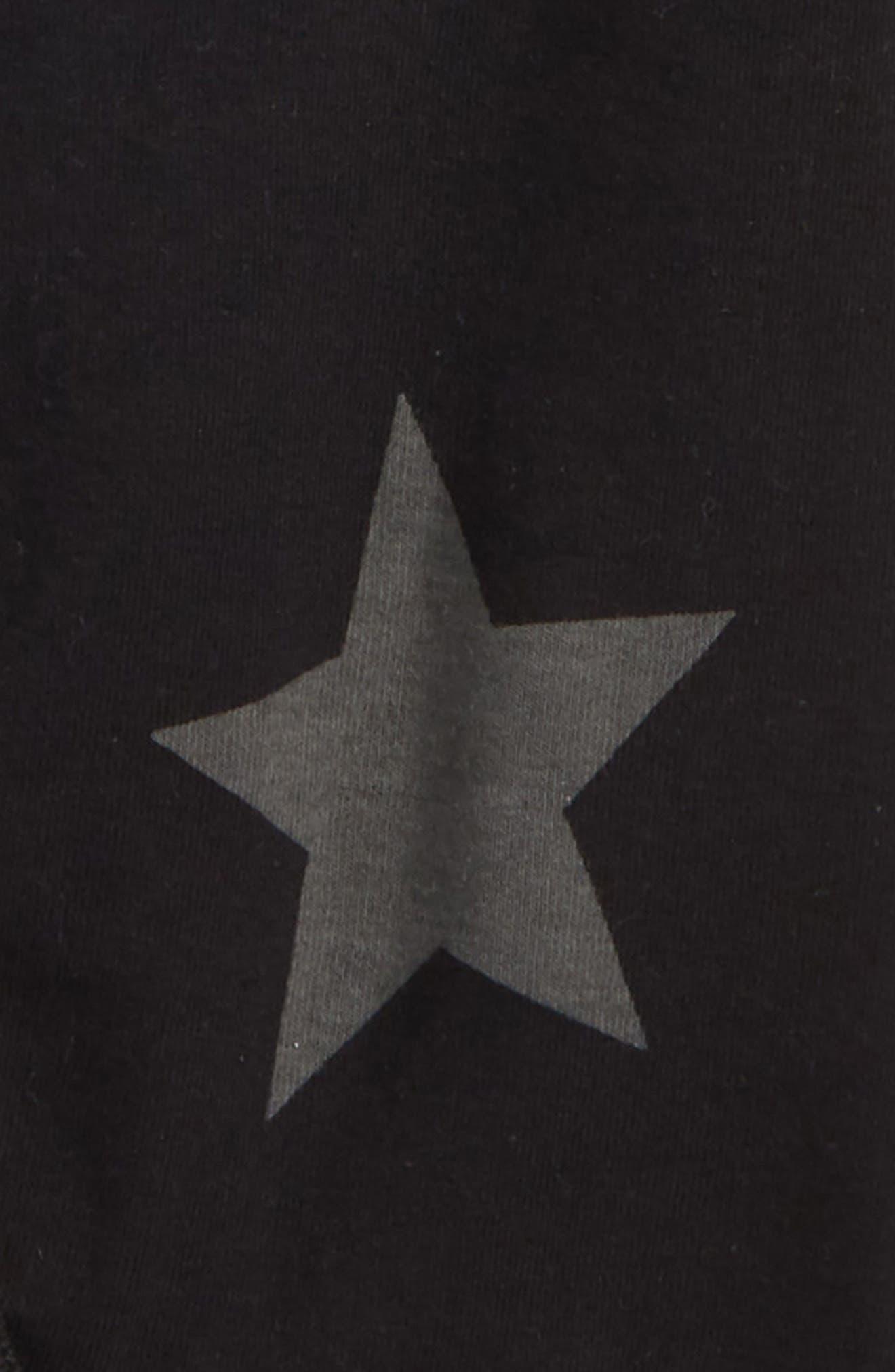 Star Print Footie,                             Alternate thumbnail 2, color,                             Black