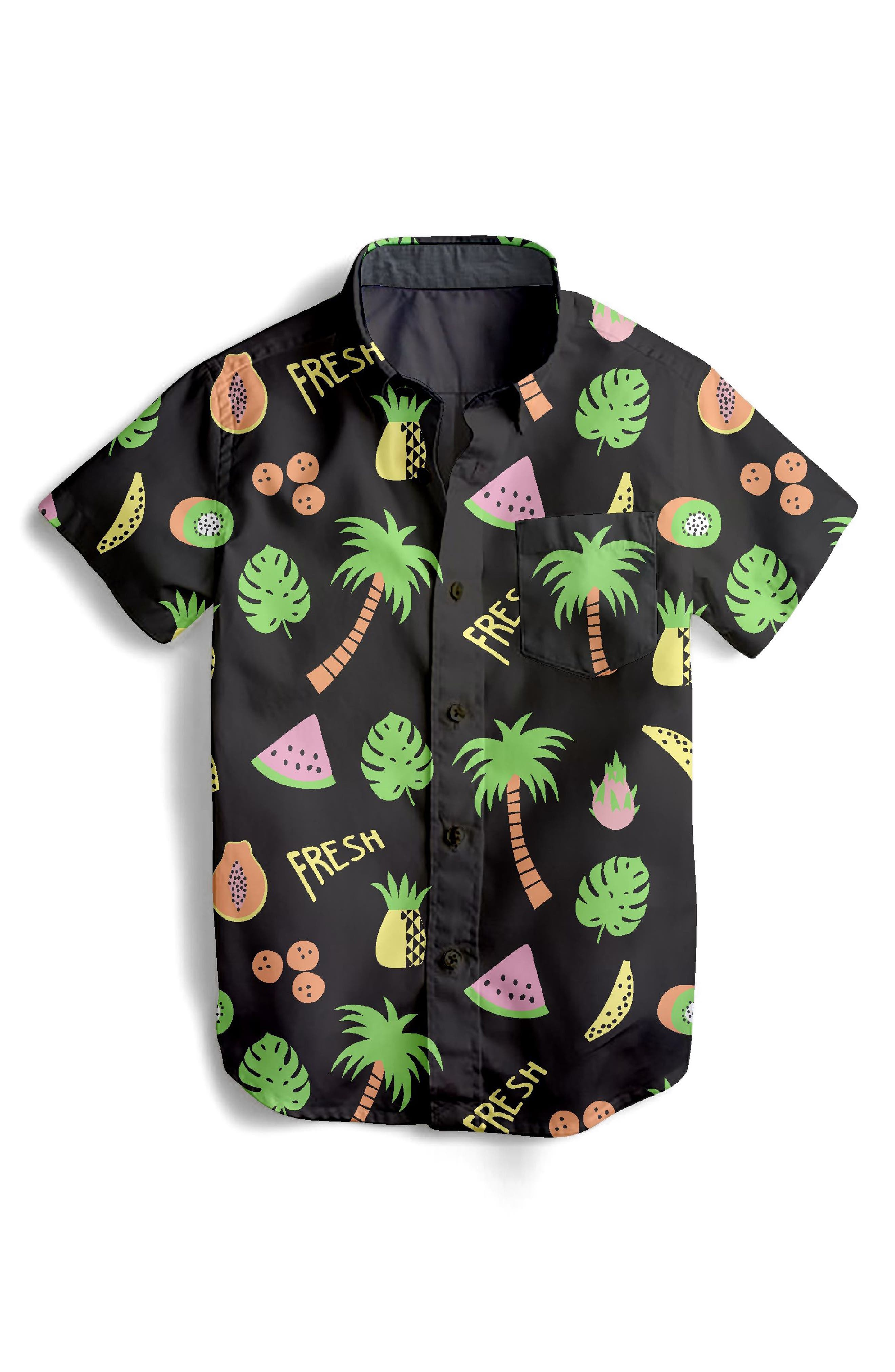 Fresh Fruit Woven Shirt,                             Main thumbnail 1, color,                             Black Multi