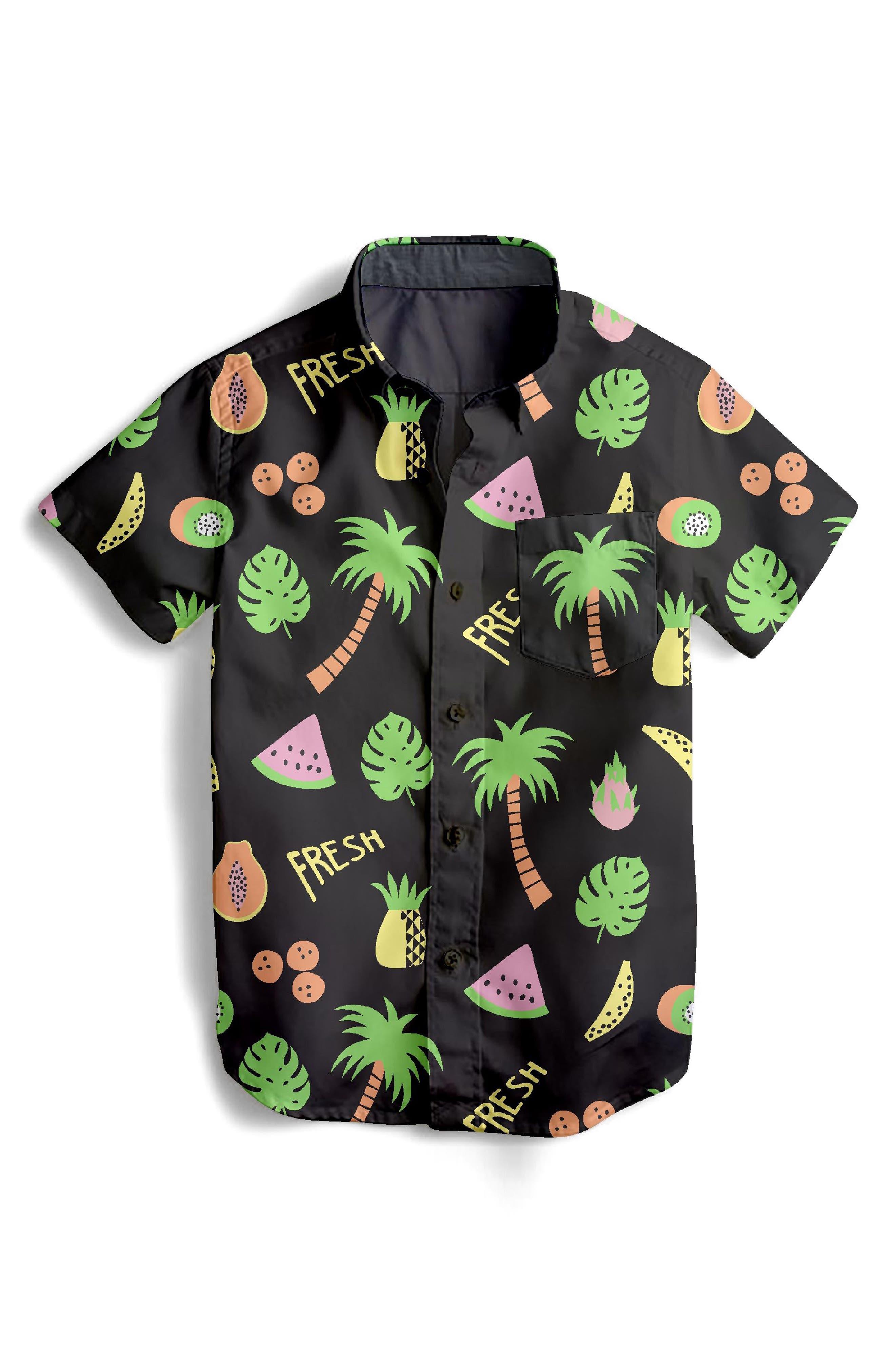 Fresh Fruit Woven Shirt,                         Main,                         color, Black Multi
