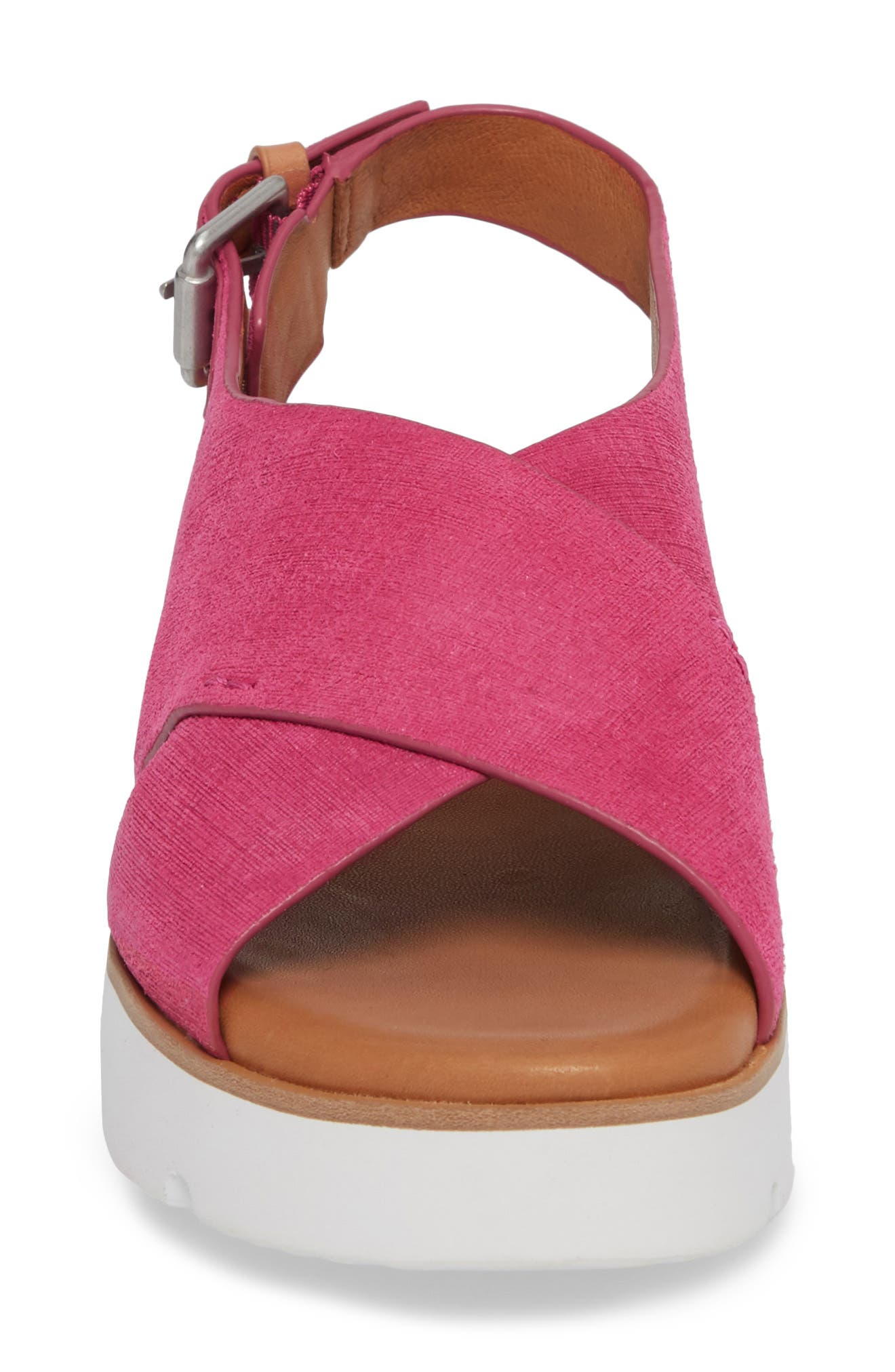 by Kenneth Cole Kiki Platform Sandal,                             Alternate thumbnail 4, color,                             Fuchsia Suede