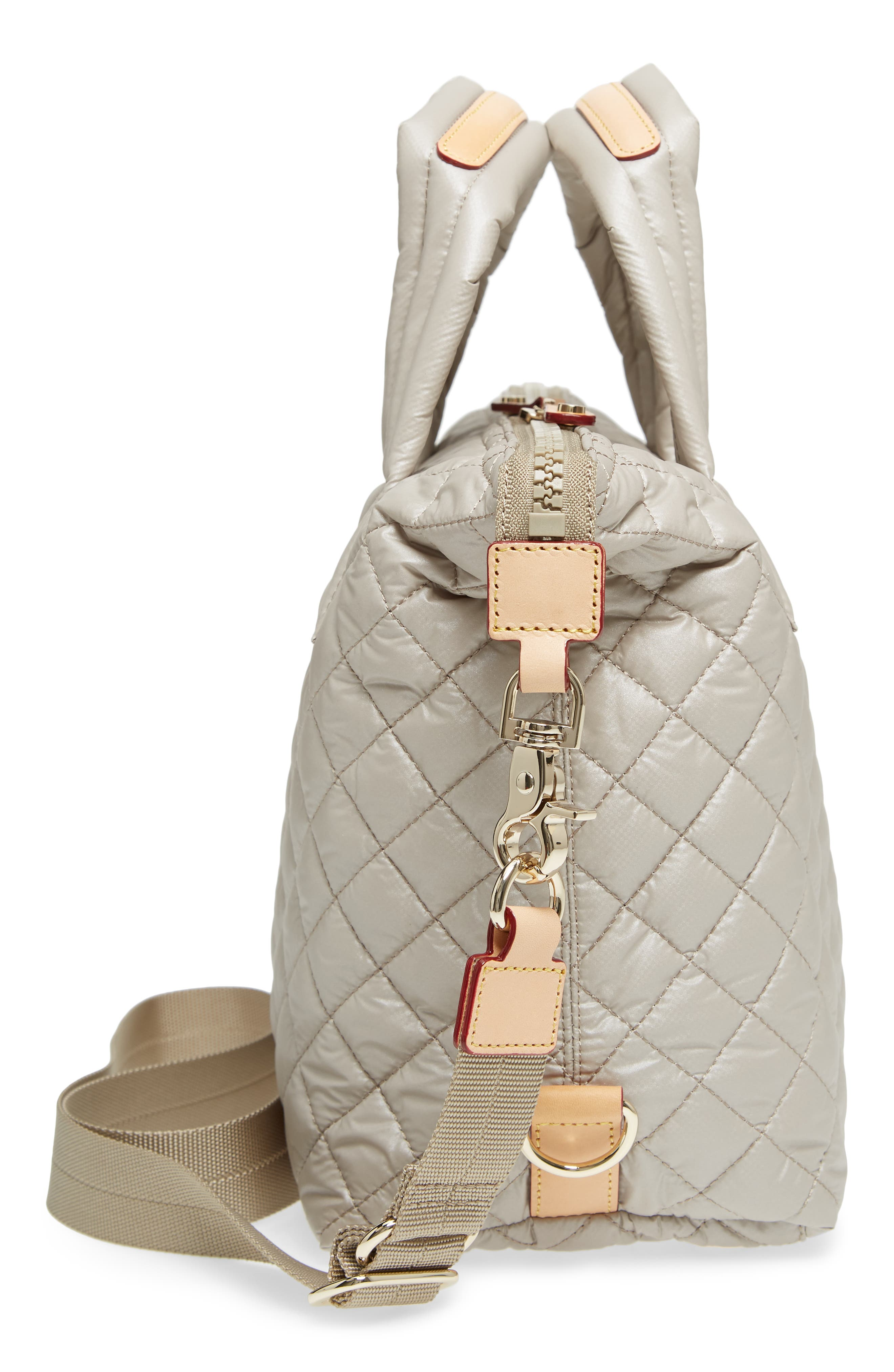 Small Sutton Quilted Oxford Nylon Tote,                             Alternate thumbnail 5, color,                             Atmosphere Metallic