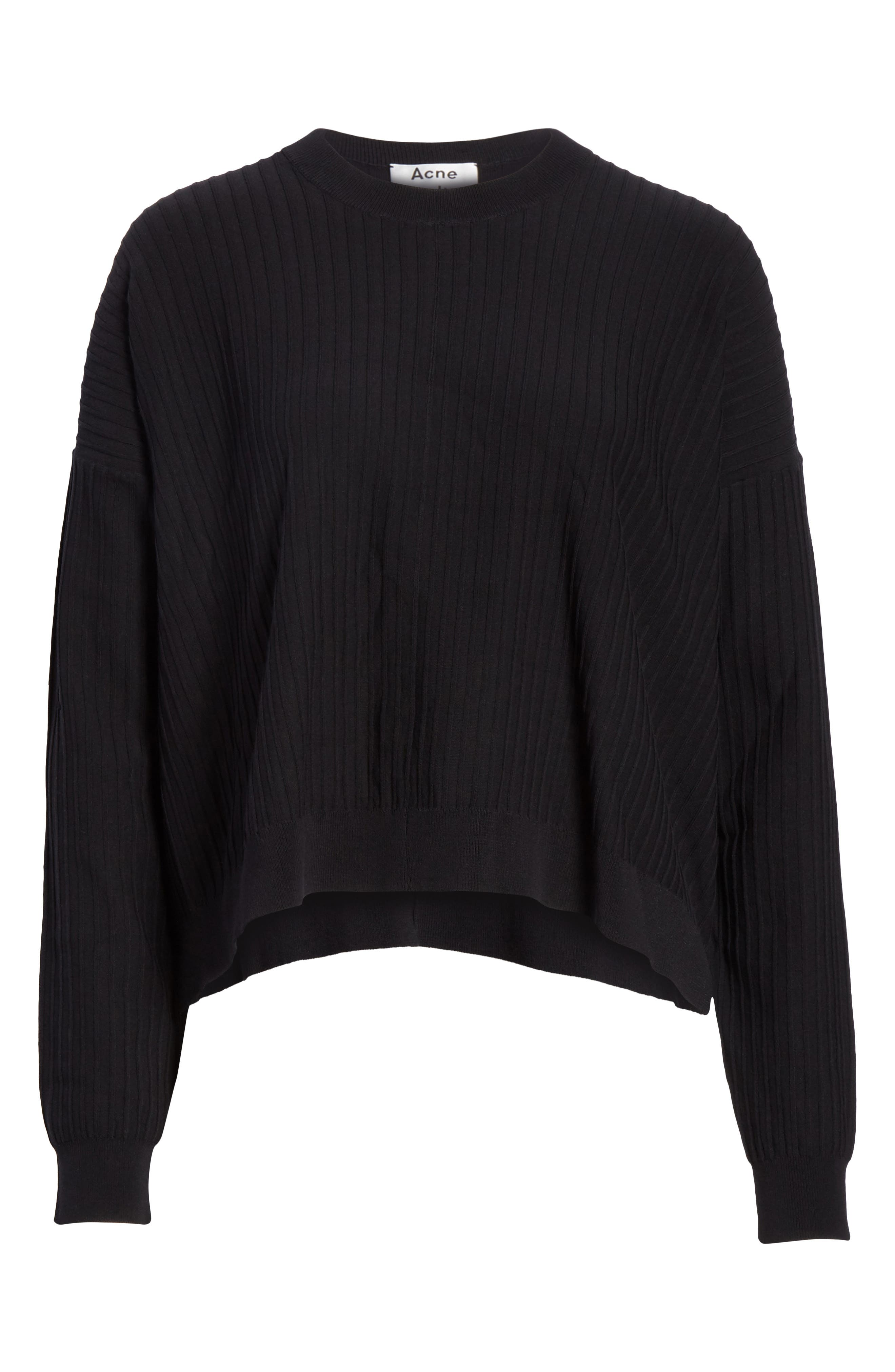Issy Ribbed Sweater,                             Alternate thumbnail 6, color,                             Black