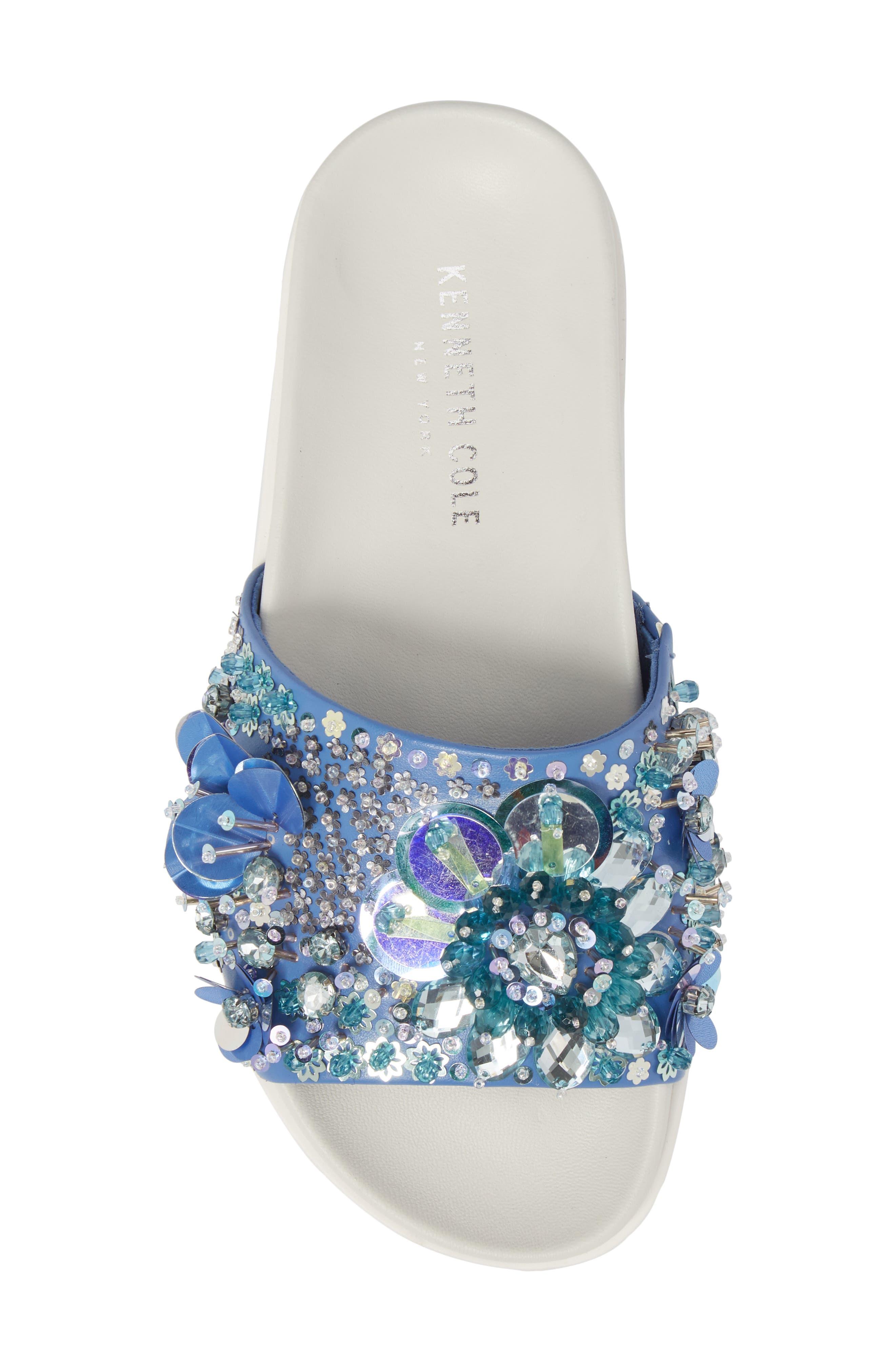 Xenia Sequin Embellished Sandal,                             Alternate thumbnail 5, color,                             Blue Multi Fabric