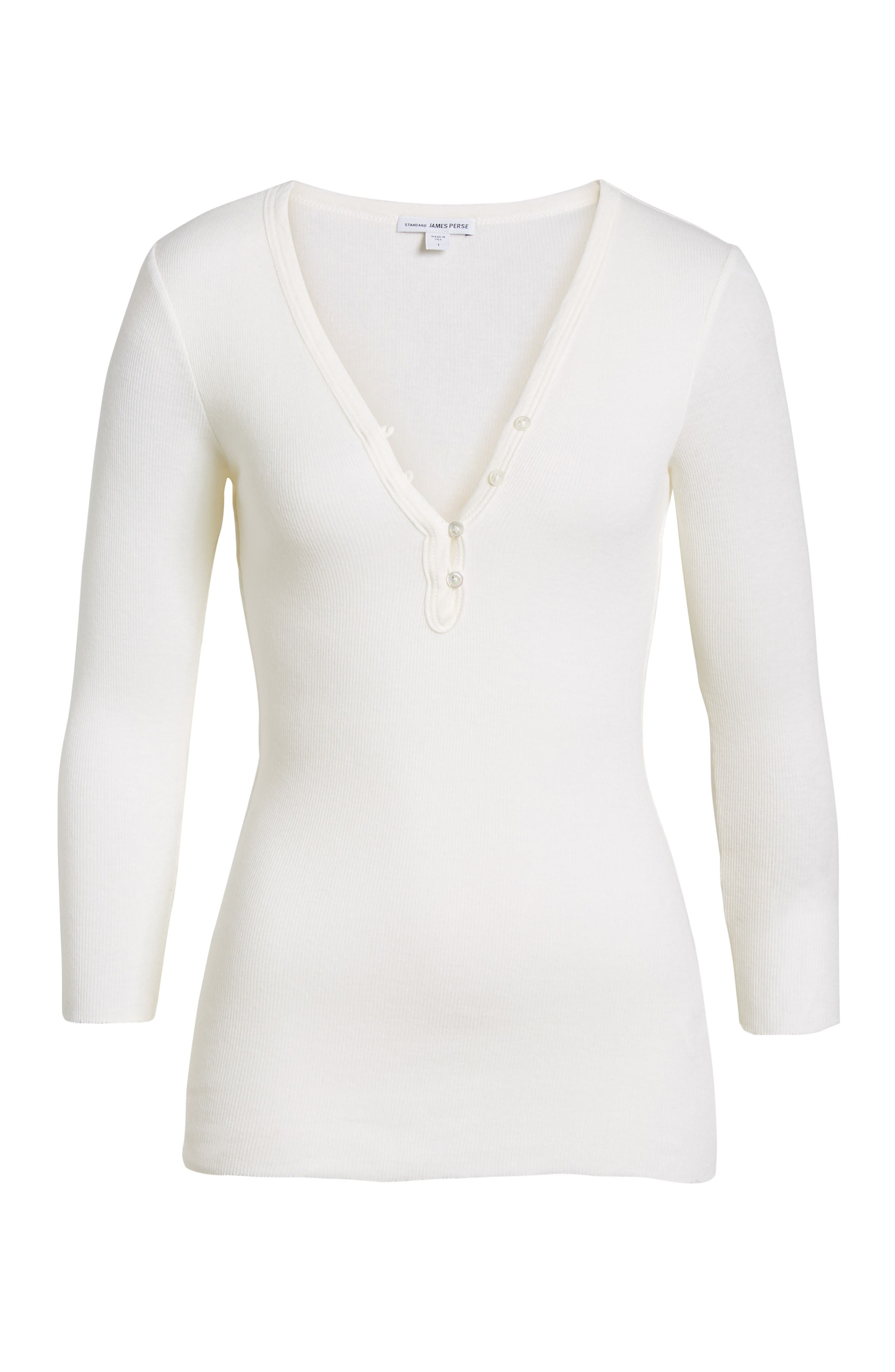 Ribbed Cotton & Cashmere Henley,                         Main,                         color, White