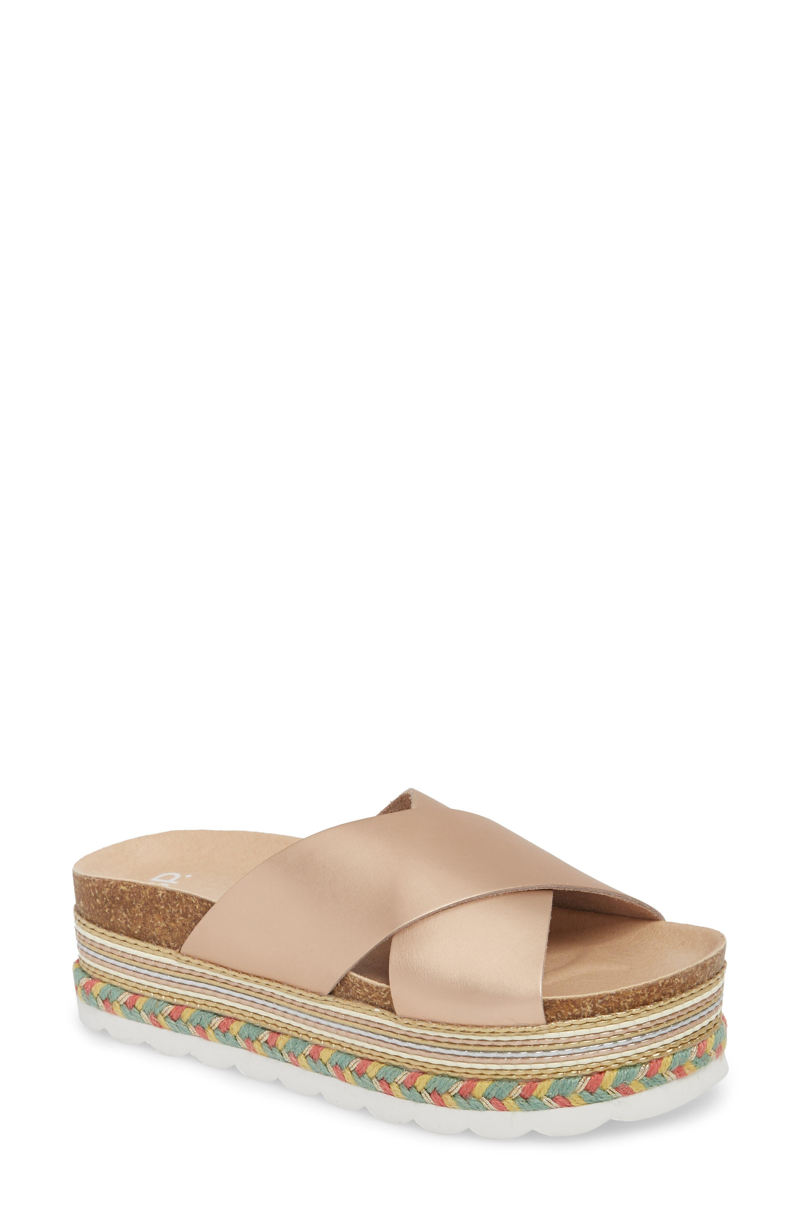 Torri Platform Slide Sandal,                             Main thumbnail 1, color,                             Rose Gold Leather