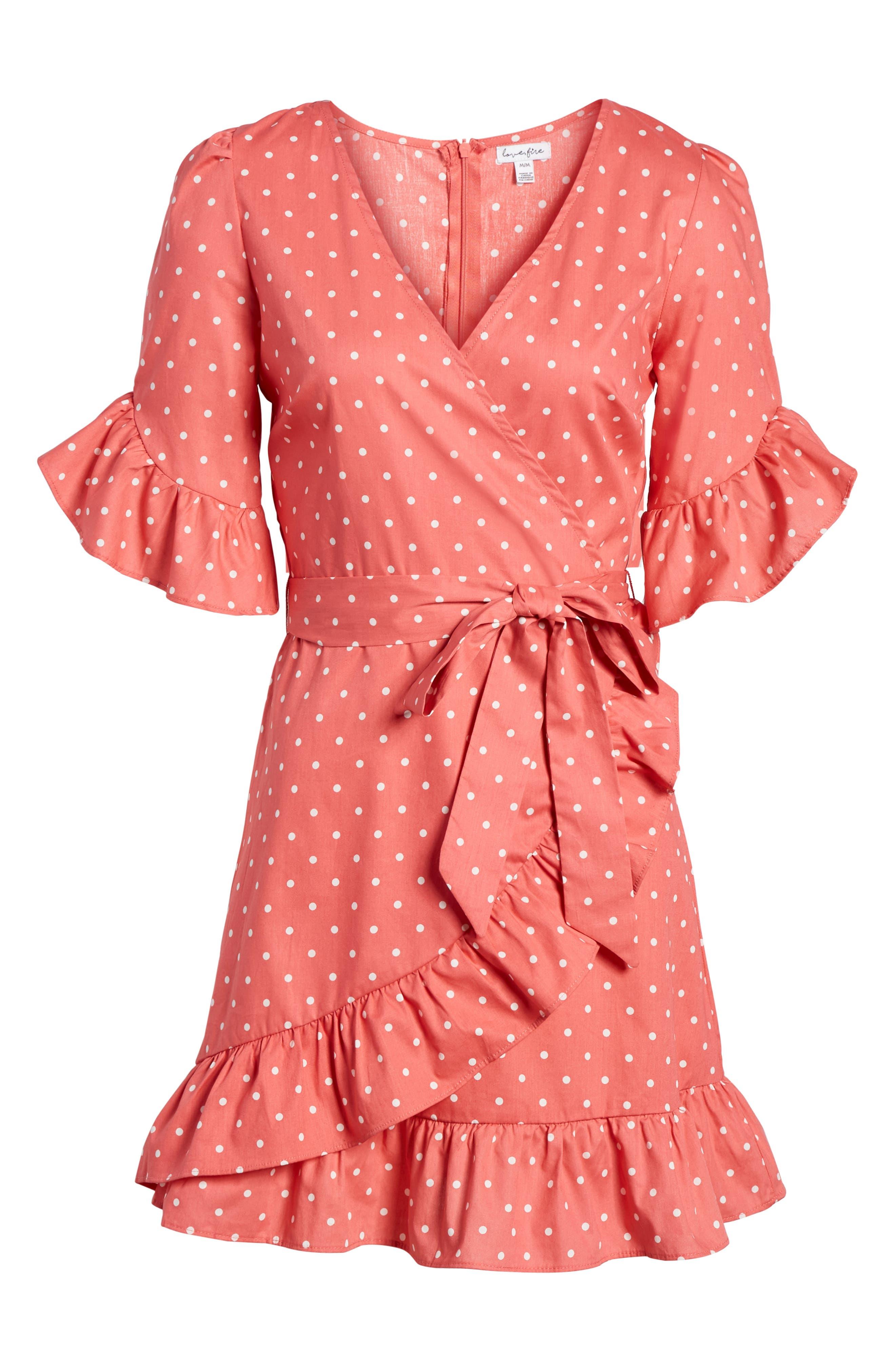 Ruffle Faux Wrap Dress,                             Alternate thumbnail 6, color,                             Red