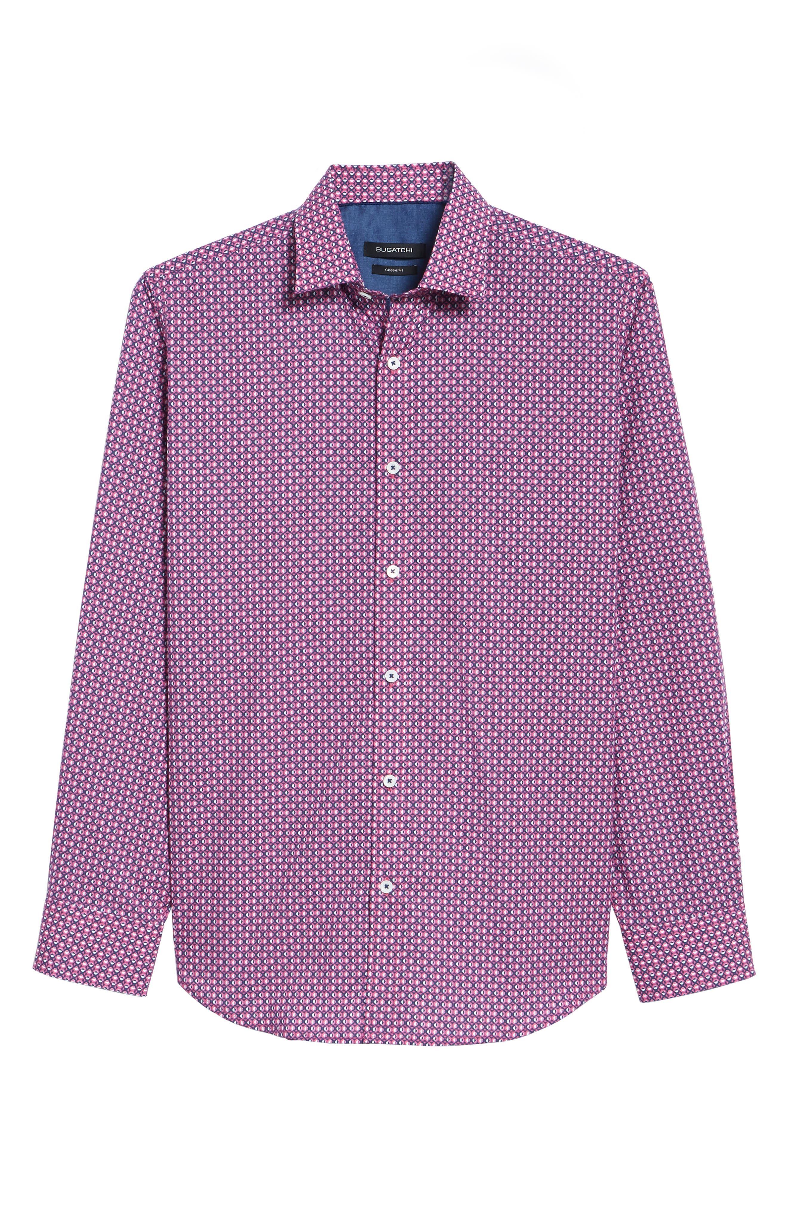 Classic Fit Woven Sport Shirt,                             Alternate thumbnail 6, color,                             Magenta