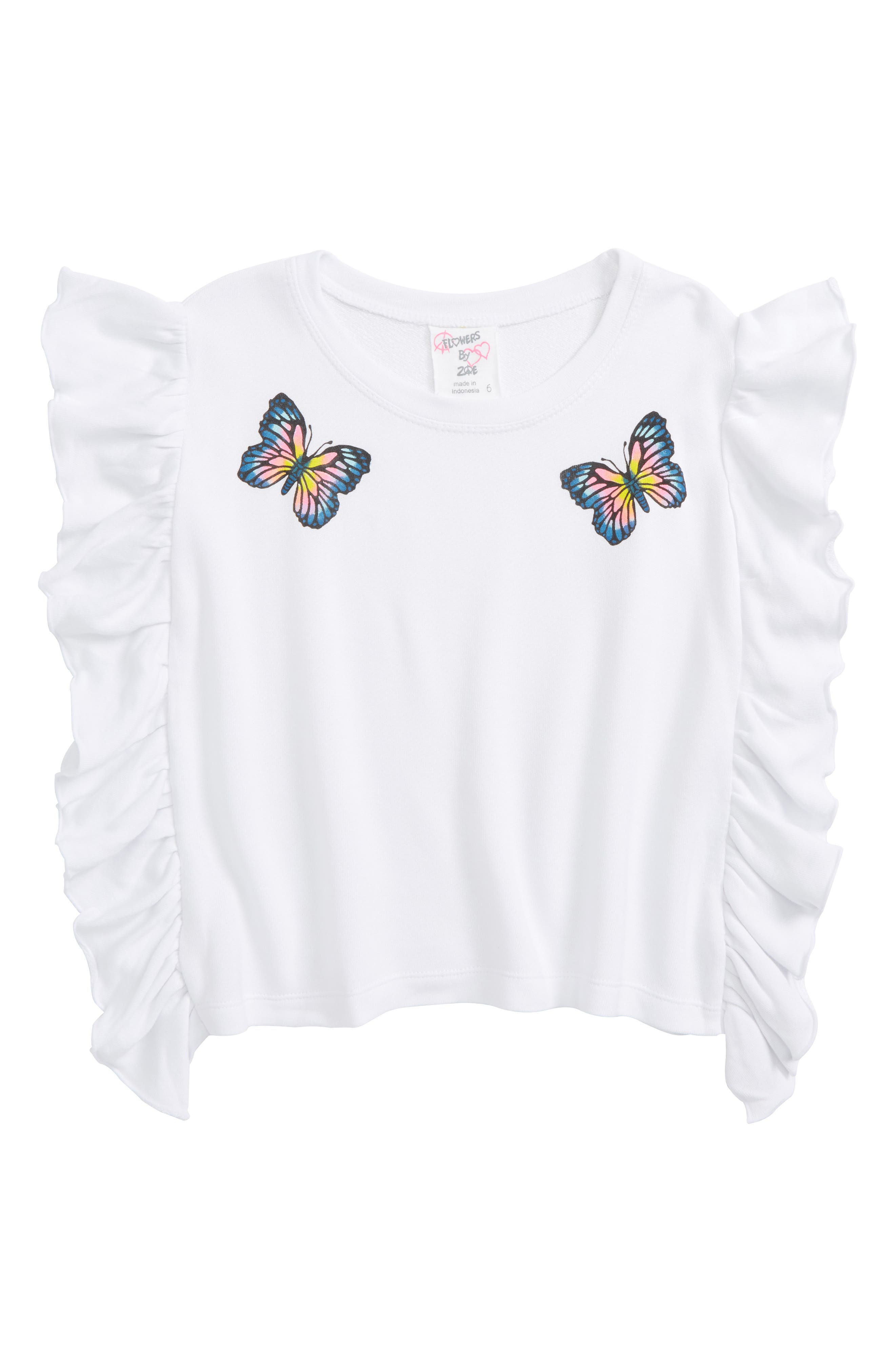 Butterfly Ruffle Sweatshirt,                         Main,                         color, White