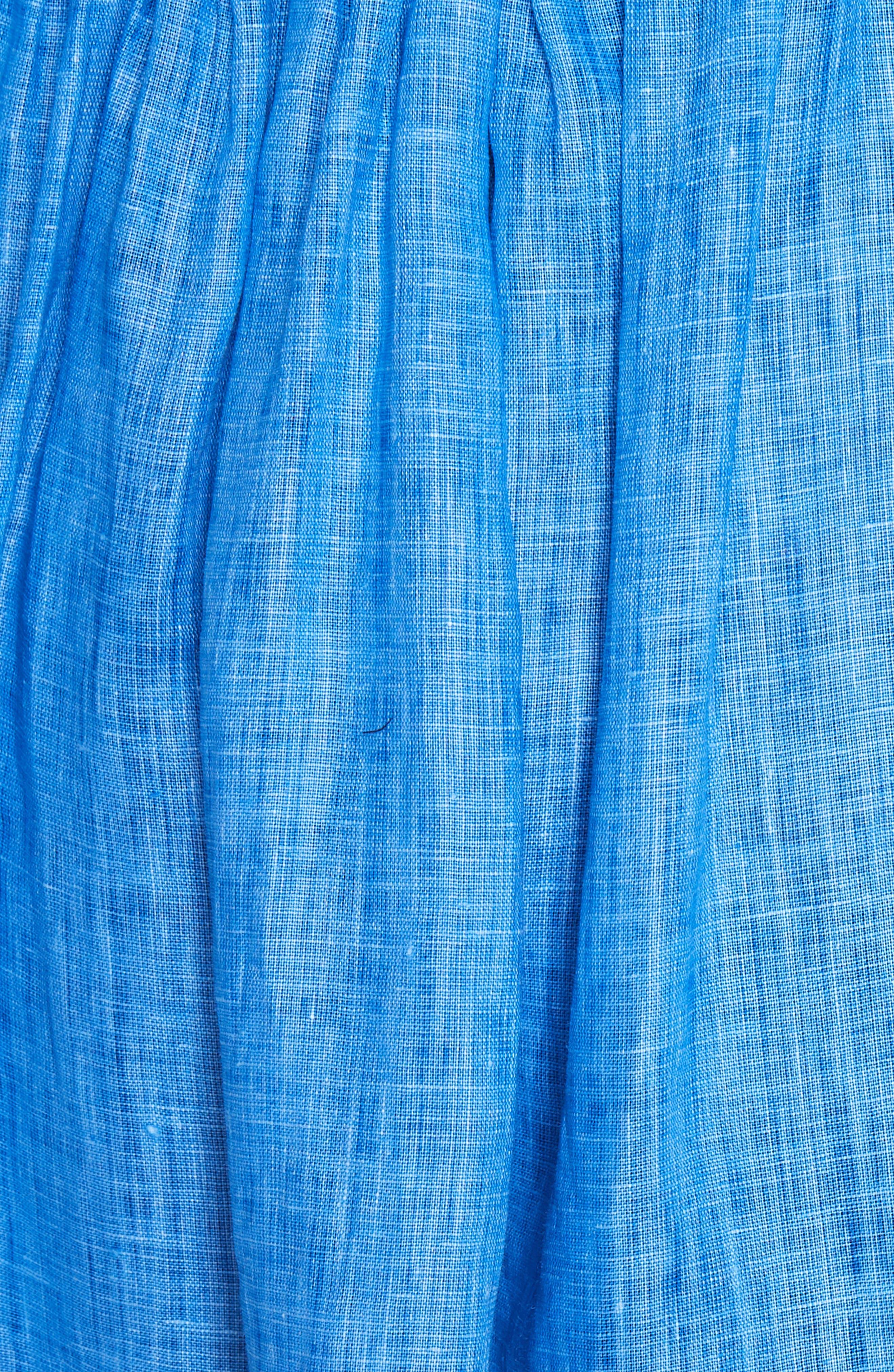 Amanda Off the Shoulder Italian Linen Dress,                             Alternate thumbnail 5, color,                             Cobalt