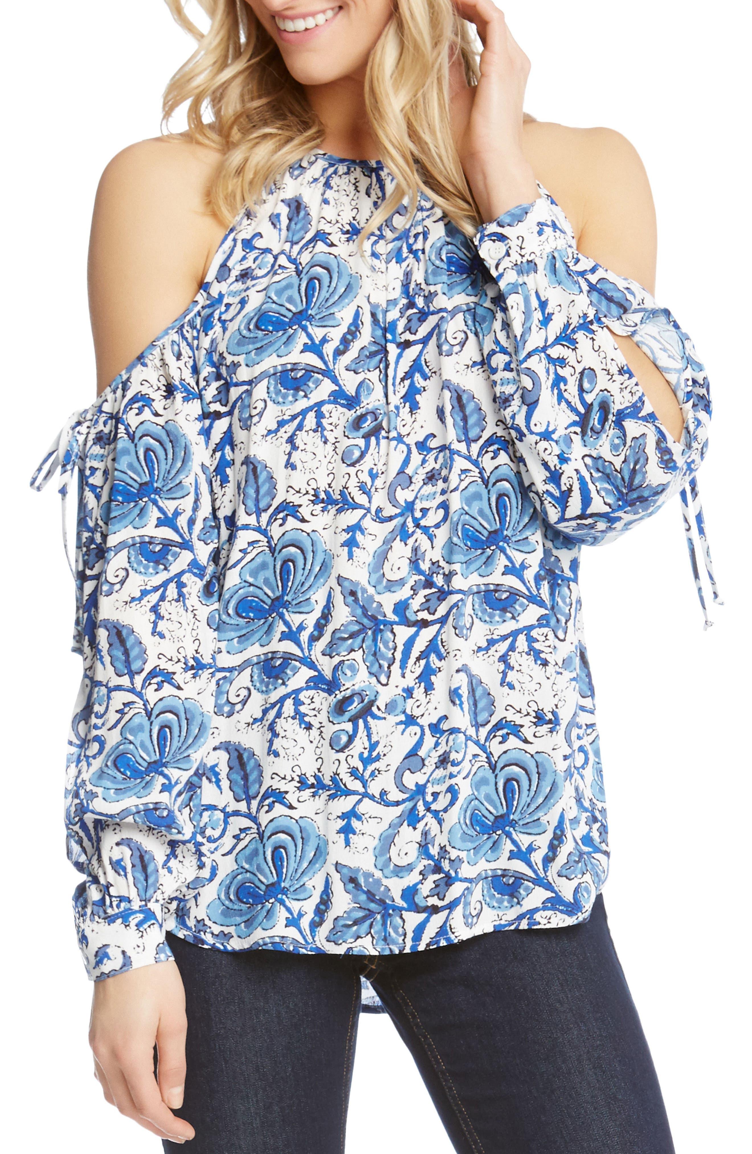 Split Tie Sleeve Cold Shoulder Top,                         Main,                         color, Print