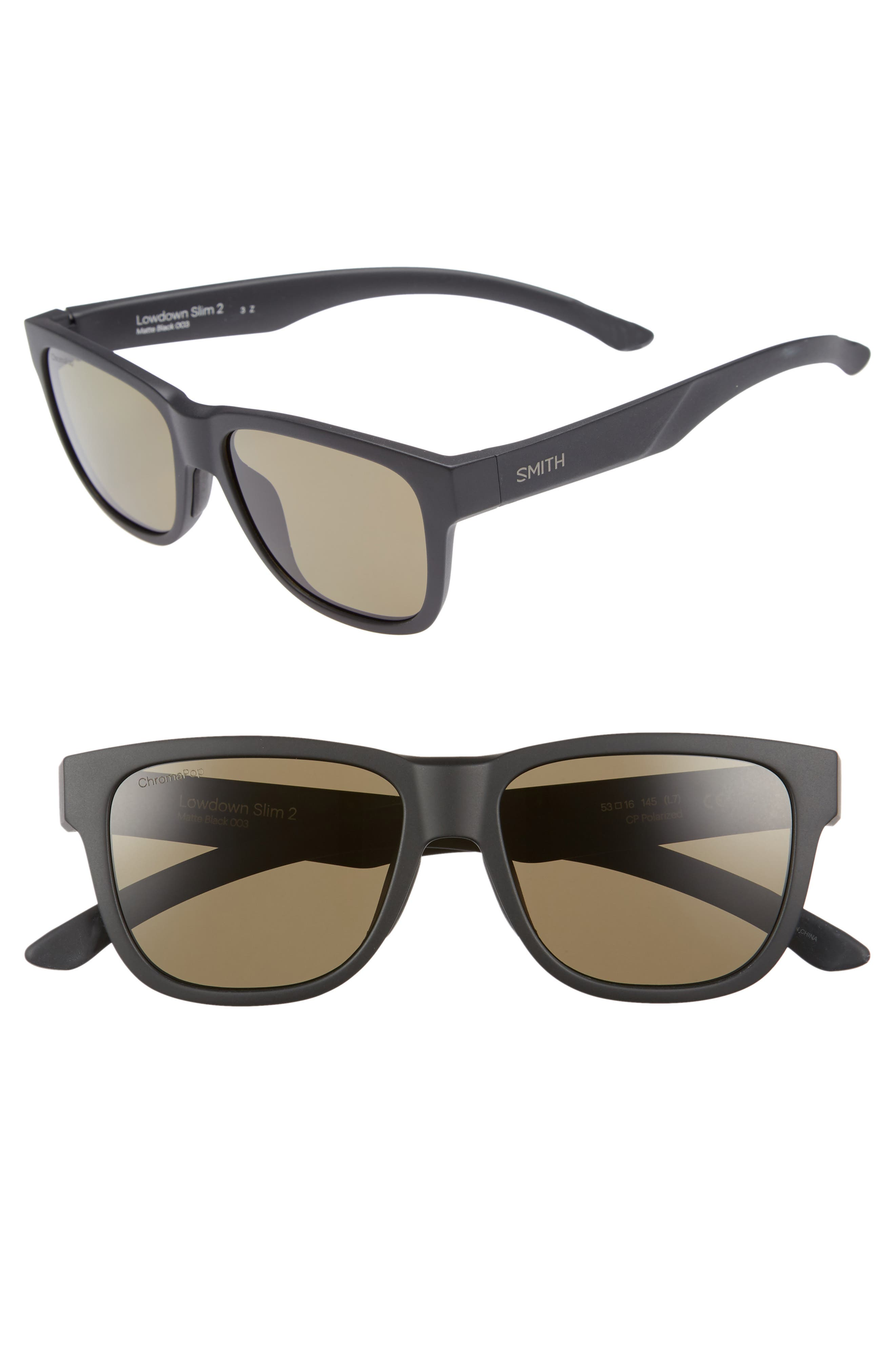 SMITH LOWDOWN SLIM 2 53MM CHROMAPOP(TM) SQUARE SUNGLASSES - MATTE BLACK