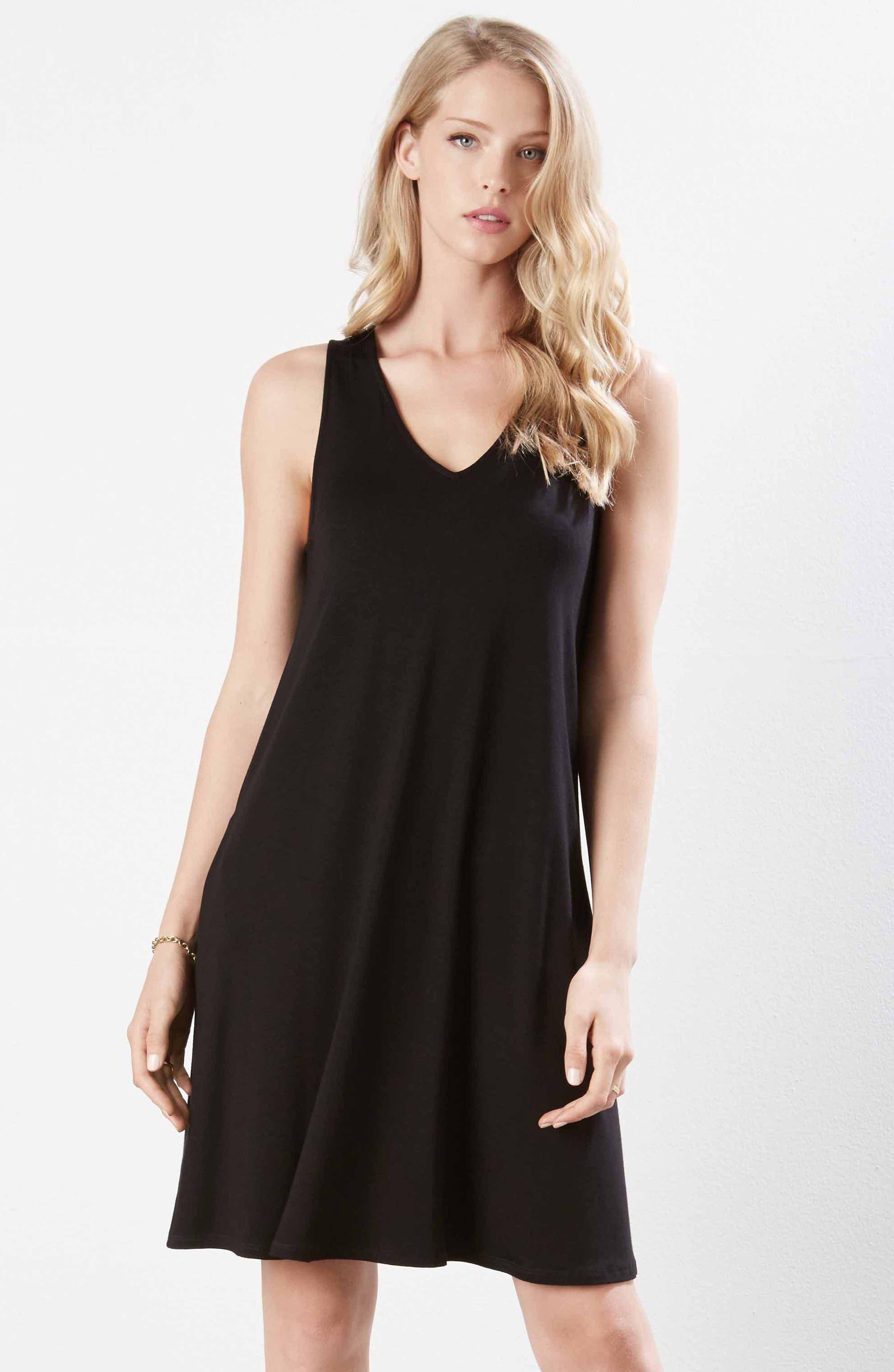 Tessa Jersey Tank Dress,                             Alternate thumbnail 2, color,                             Black