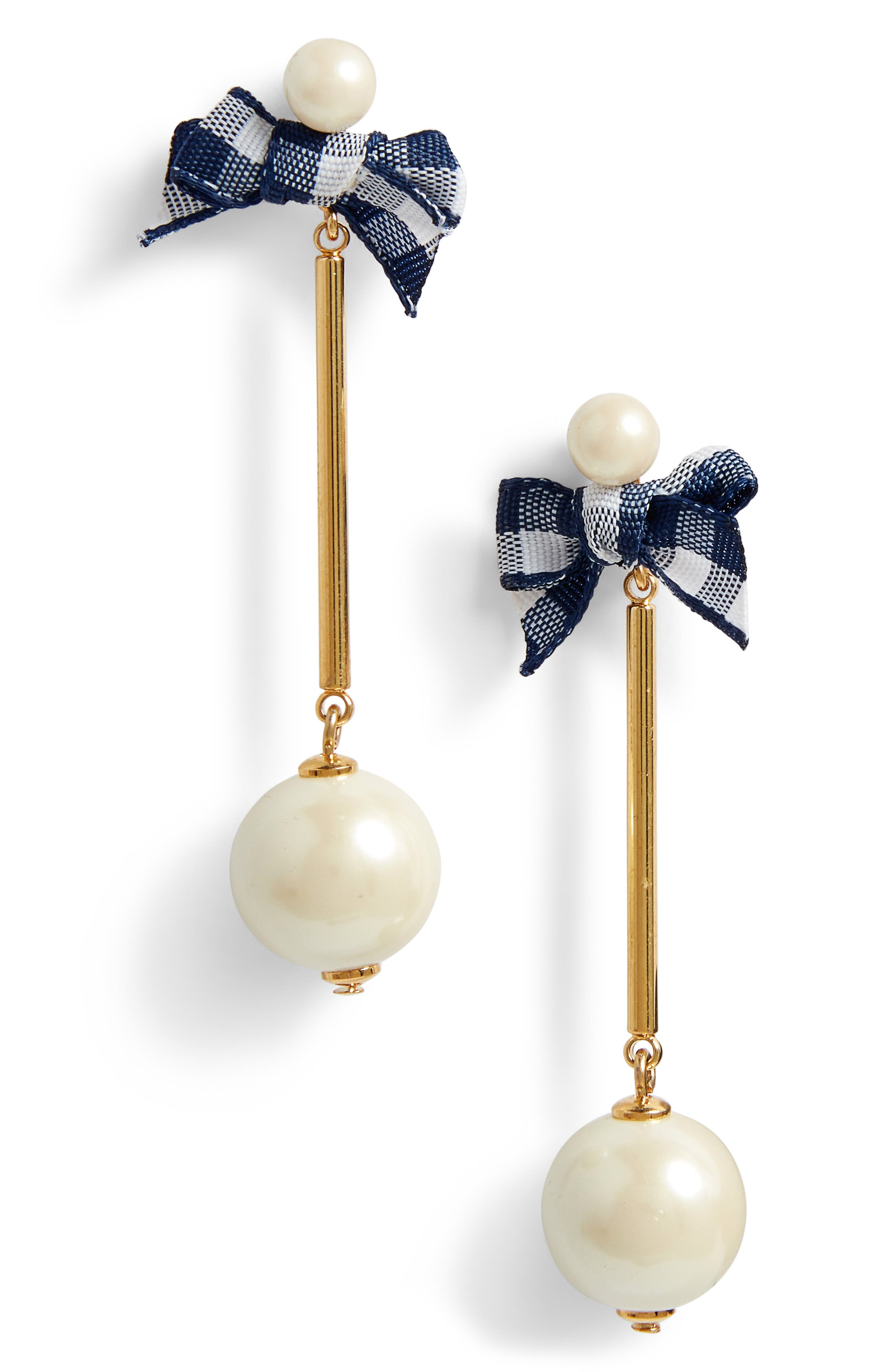 kate spade new york pretty pearly imitation pearl drop earrings