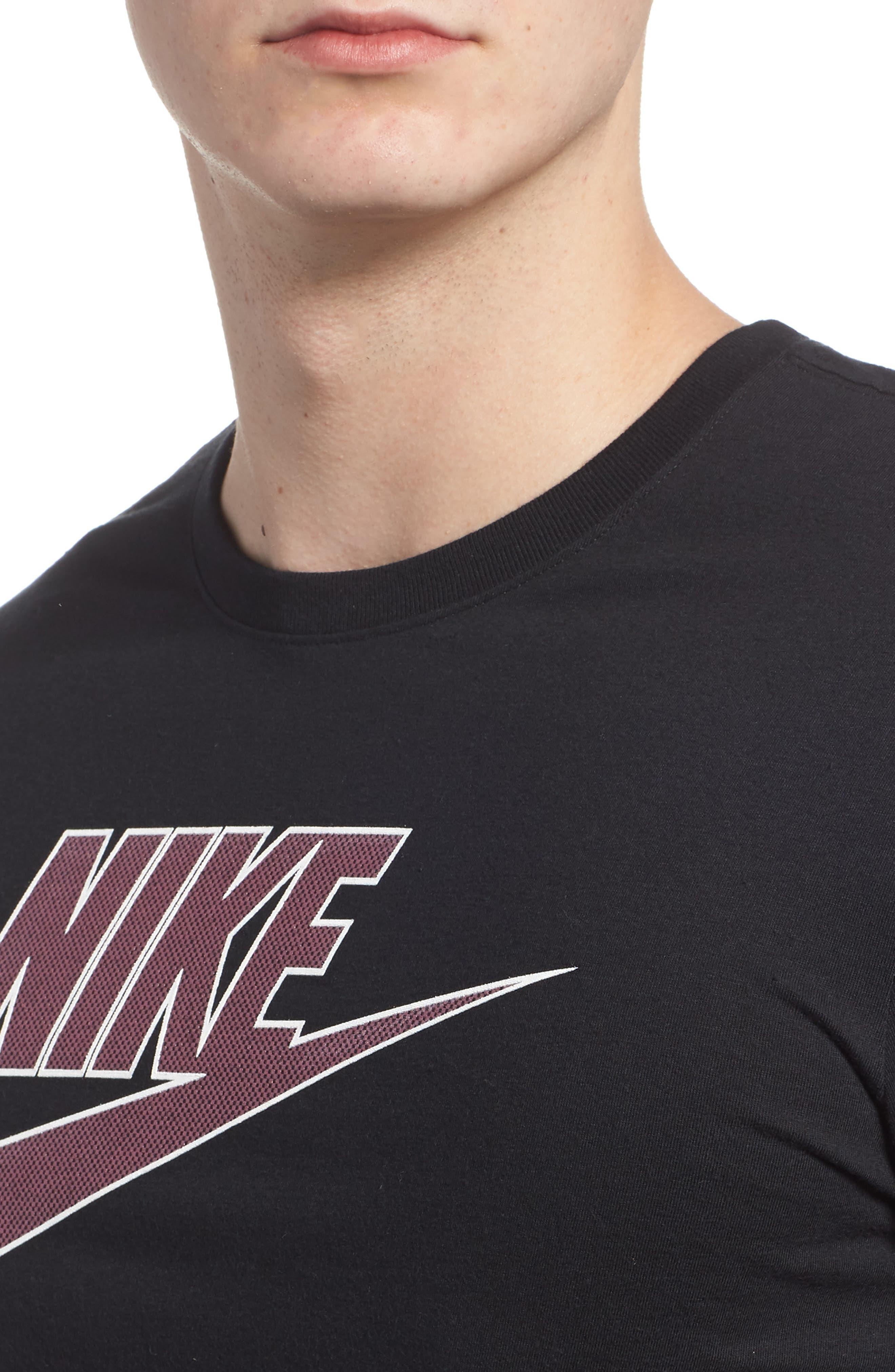 Sportswear Futura Logo Graphic T-Shirt,                             Alternate thumbnail 4, color,                             Black/ Vintage Wine