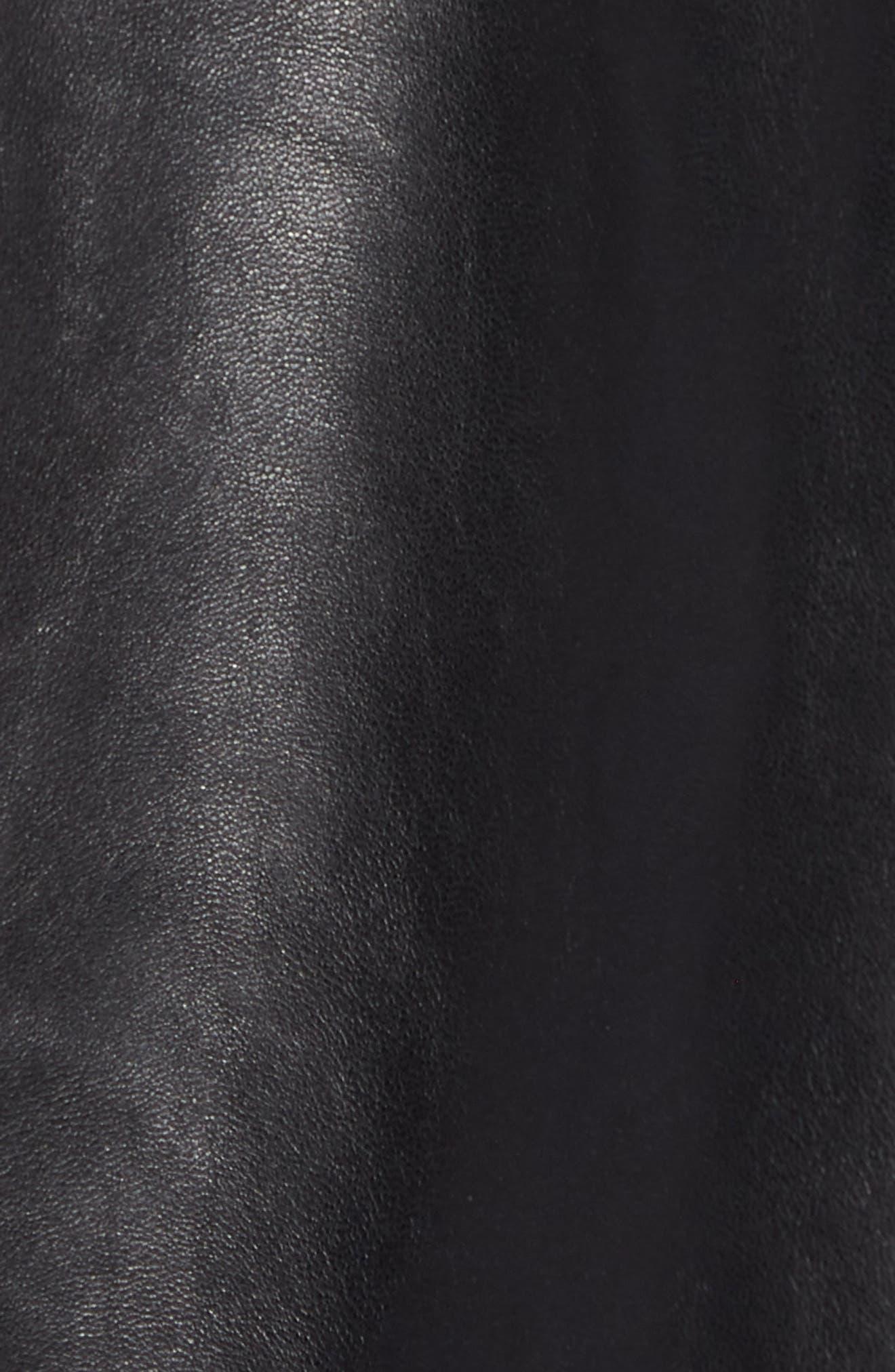 Hudson Racer Slim Fit Leather Moto Jacket,                             Alternate thumbnail 5, color,                             Black