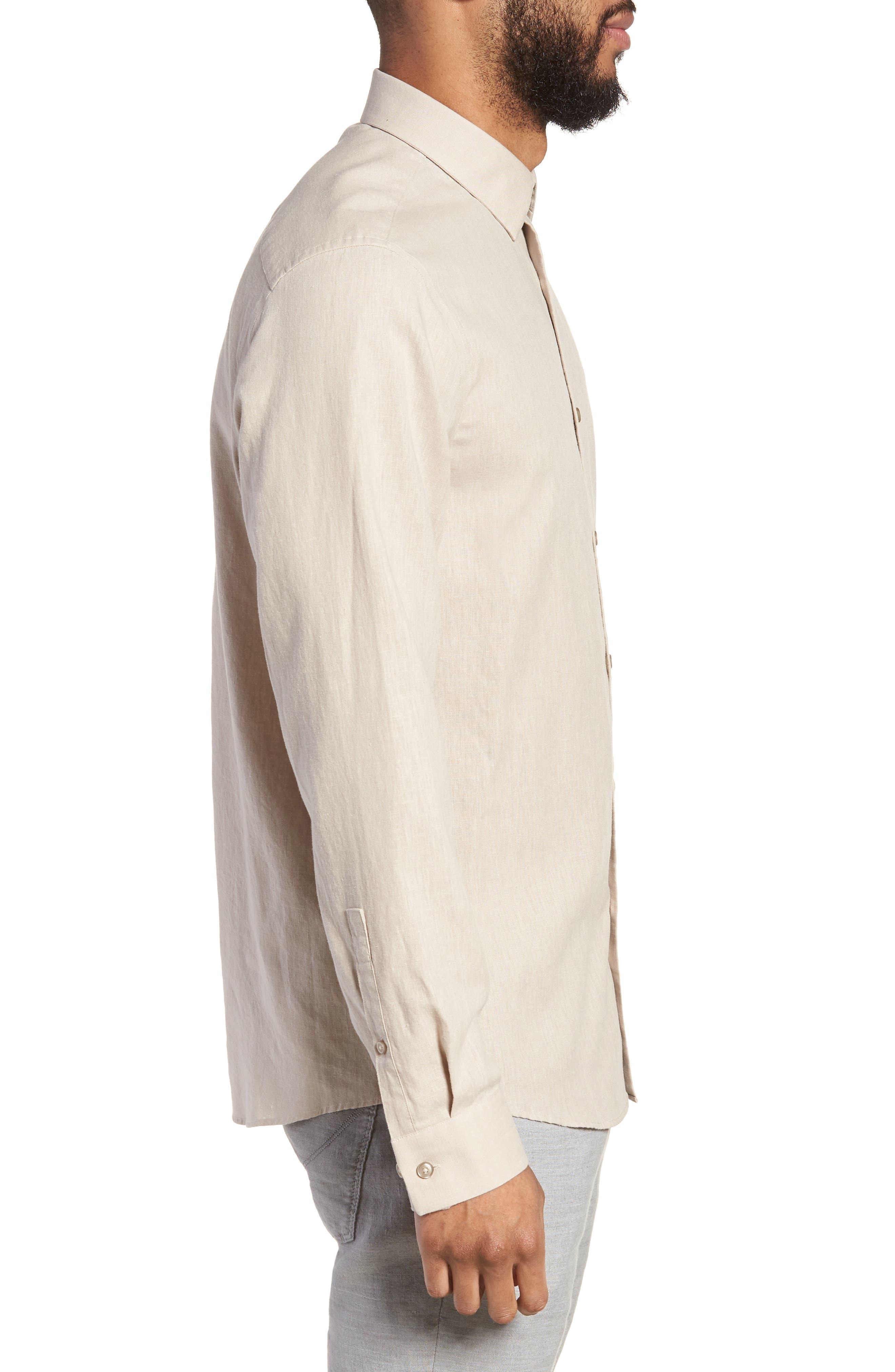 Linen Blend Sport Shirt,                             Alternate thumbnail 4, color,                             Beige Bliss