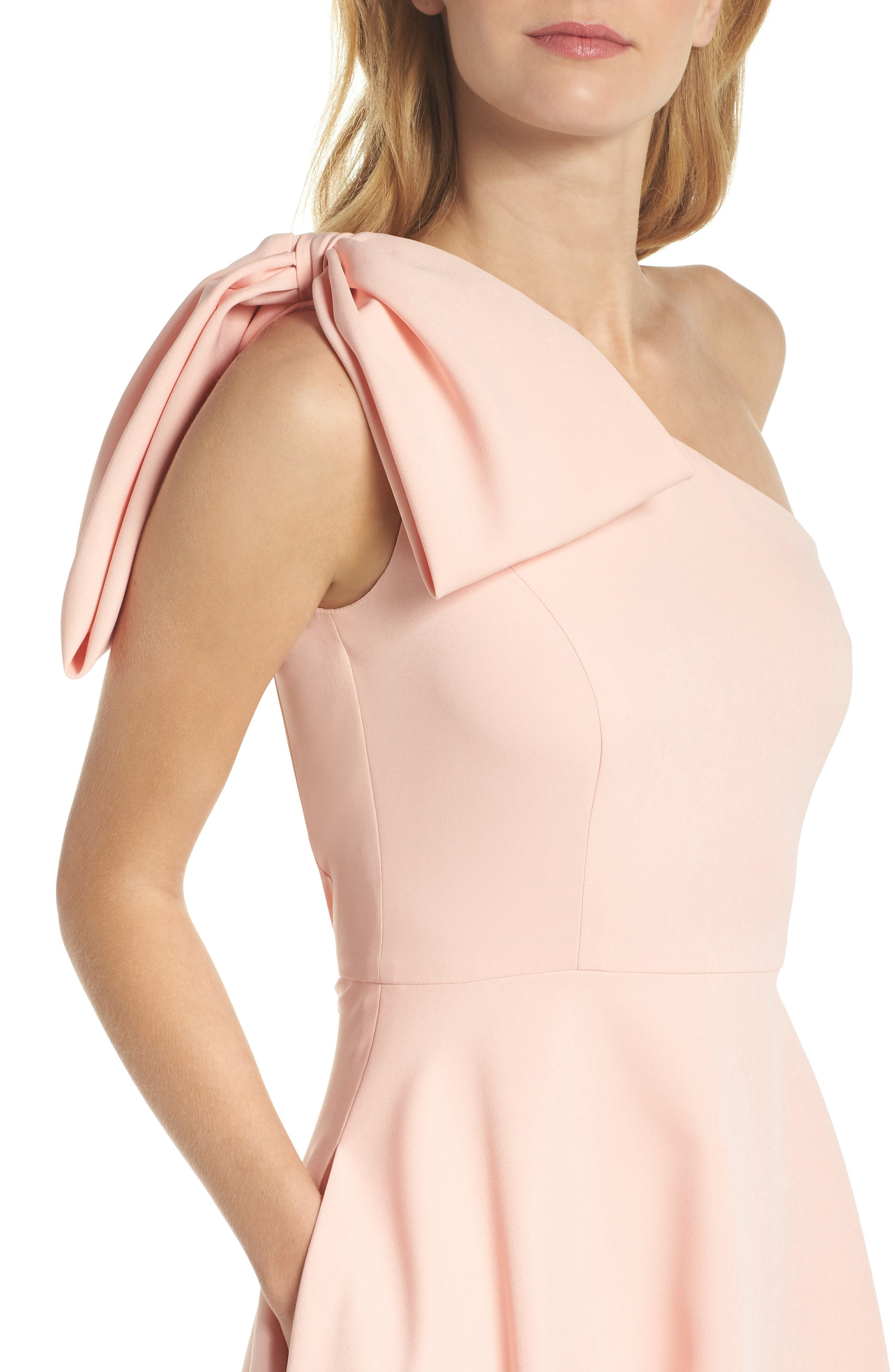 Yvonne Dream Crepe One-Shoulder Dress,                             Alternate thumbnail 6, color,                             Rose Quartz