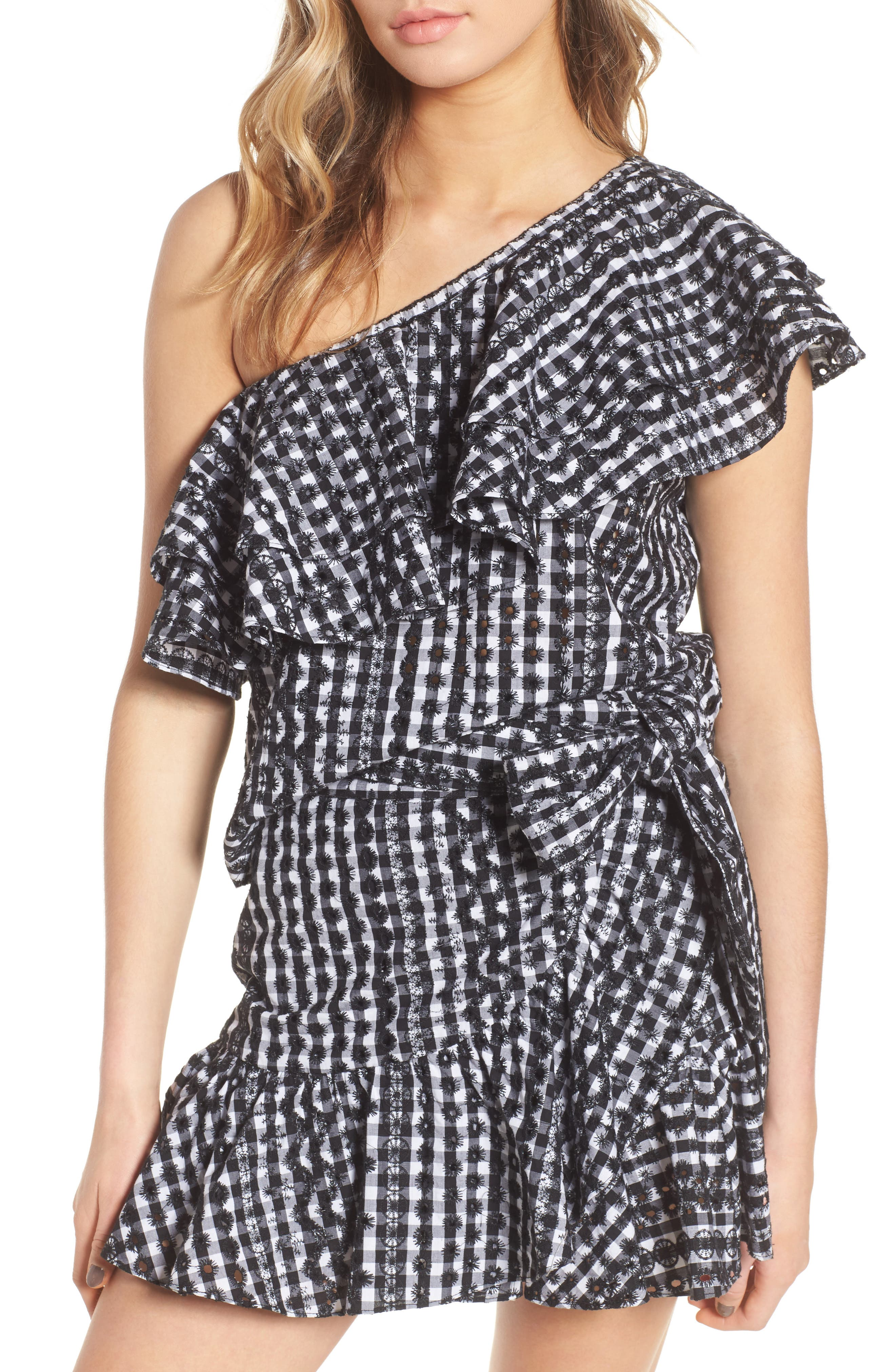 Lily Eyelet Gingham Top,                         Main,                         color, Black / White