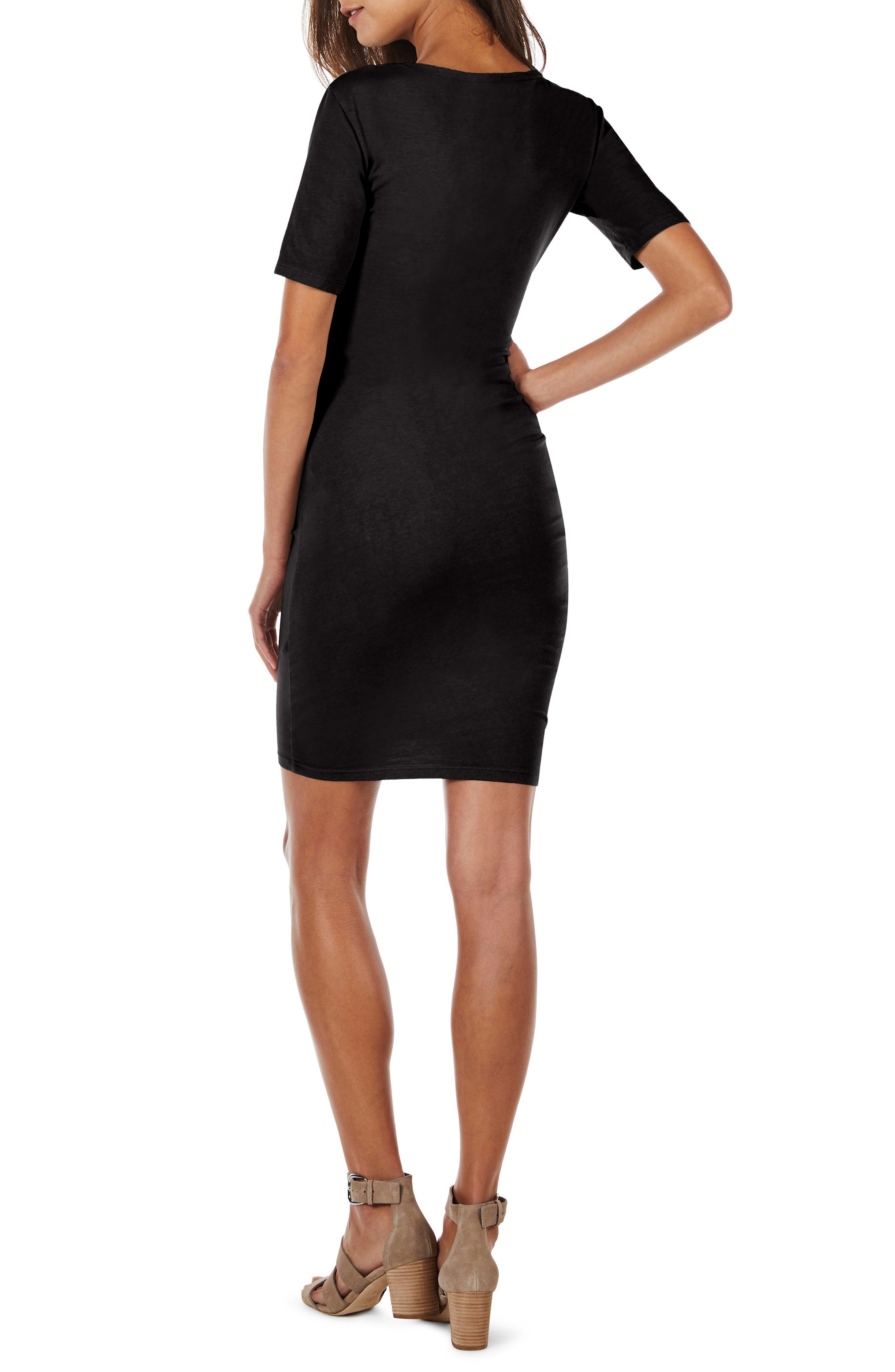 Ruched Body-Con Dress,                             Alternate thumbnail 2, color,                             Black