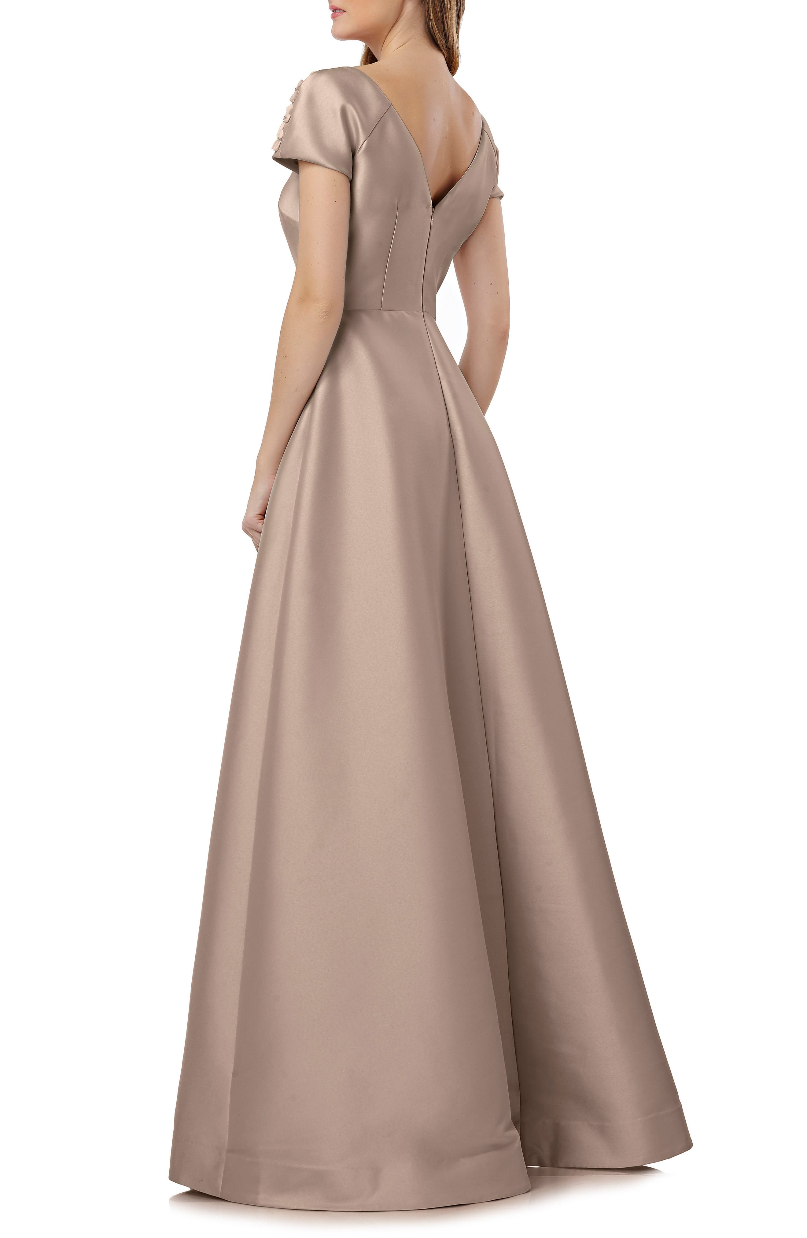 Embellished Sleeve Stretch Mikado Gown,                             Alternate thumbnail 2, color,                             Champagne