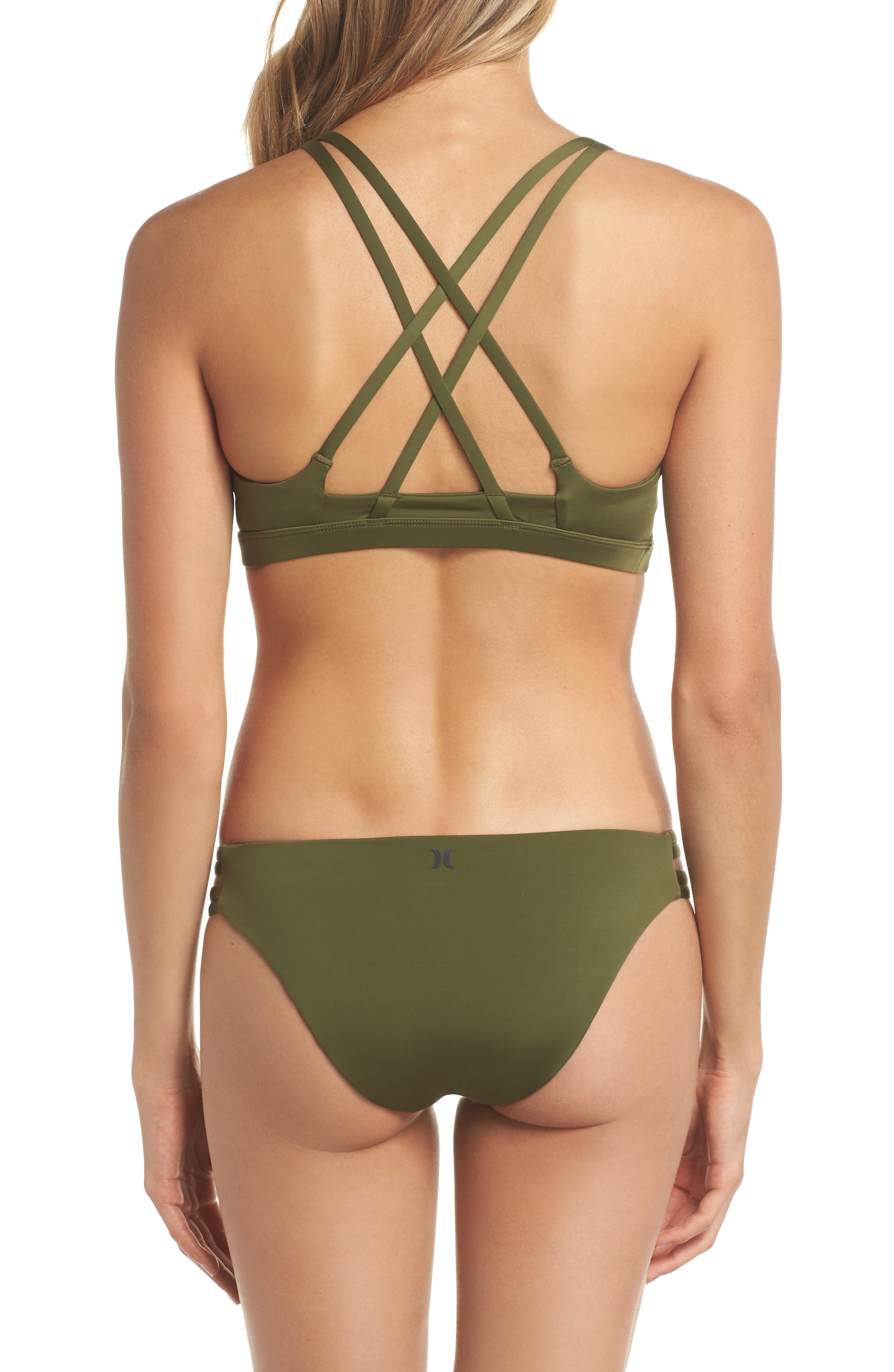 Quick Dry Max Surf Bikini Bottoms,                             Alternate thumbnail 6, color,                             Olive Canvas